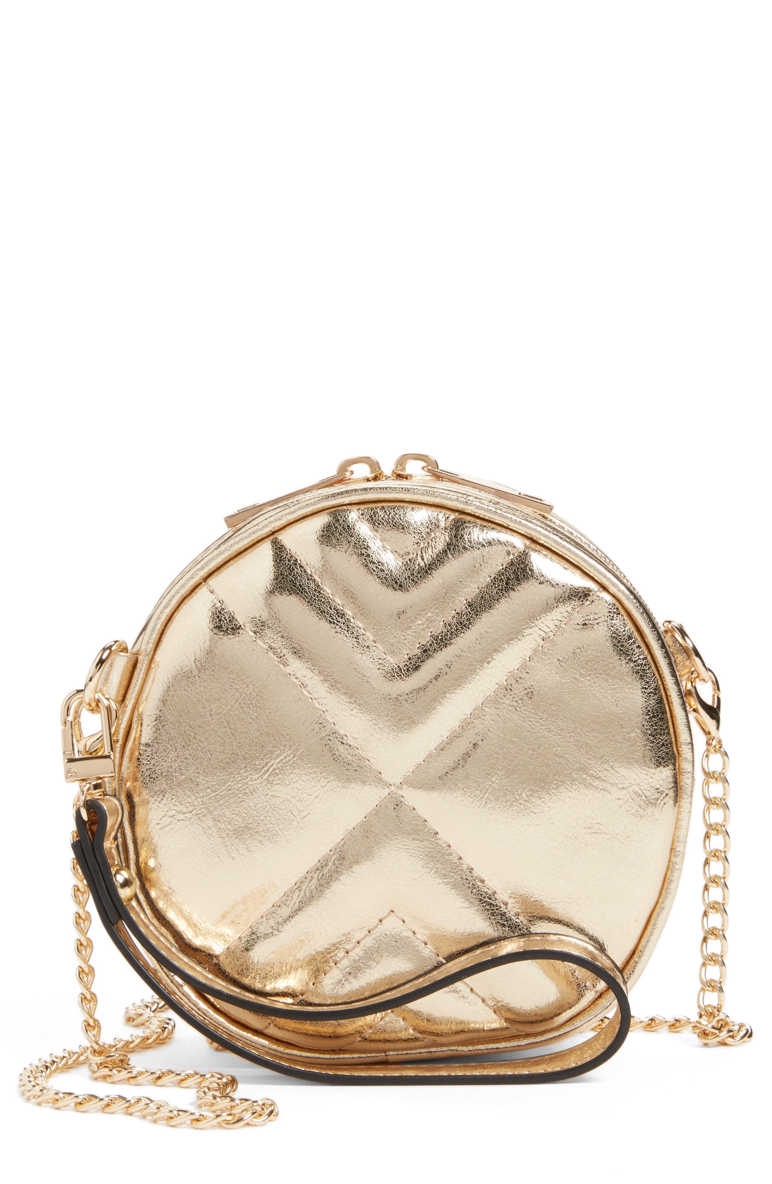 Round Crossbody Bag,                         Main,                         color, Gold