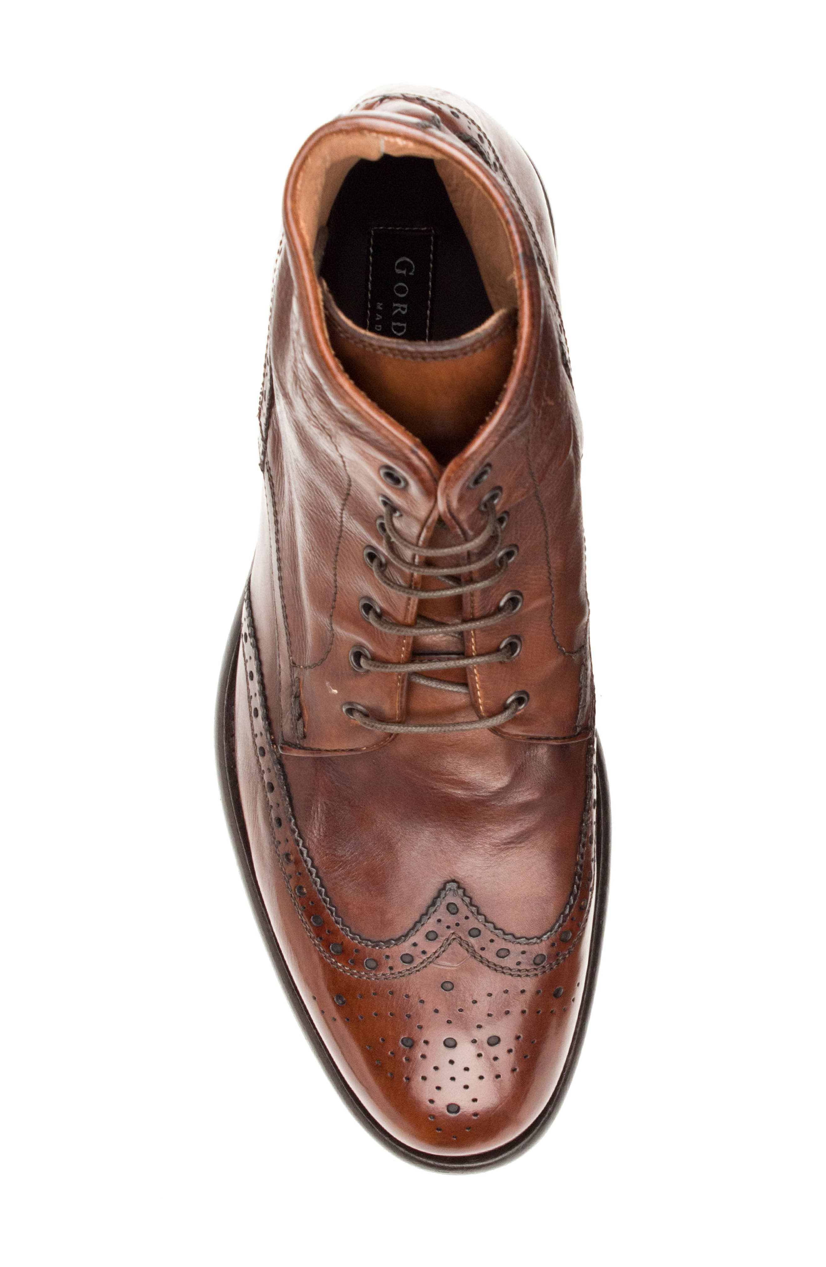 Maxfield Wingtip Boot,                             Alternate thumbnail 5, color,                             Cognac Leather