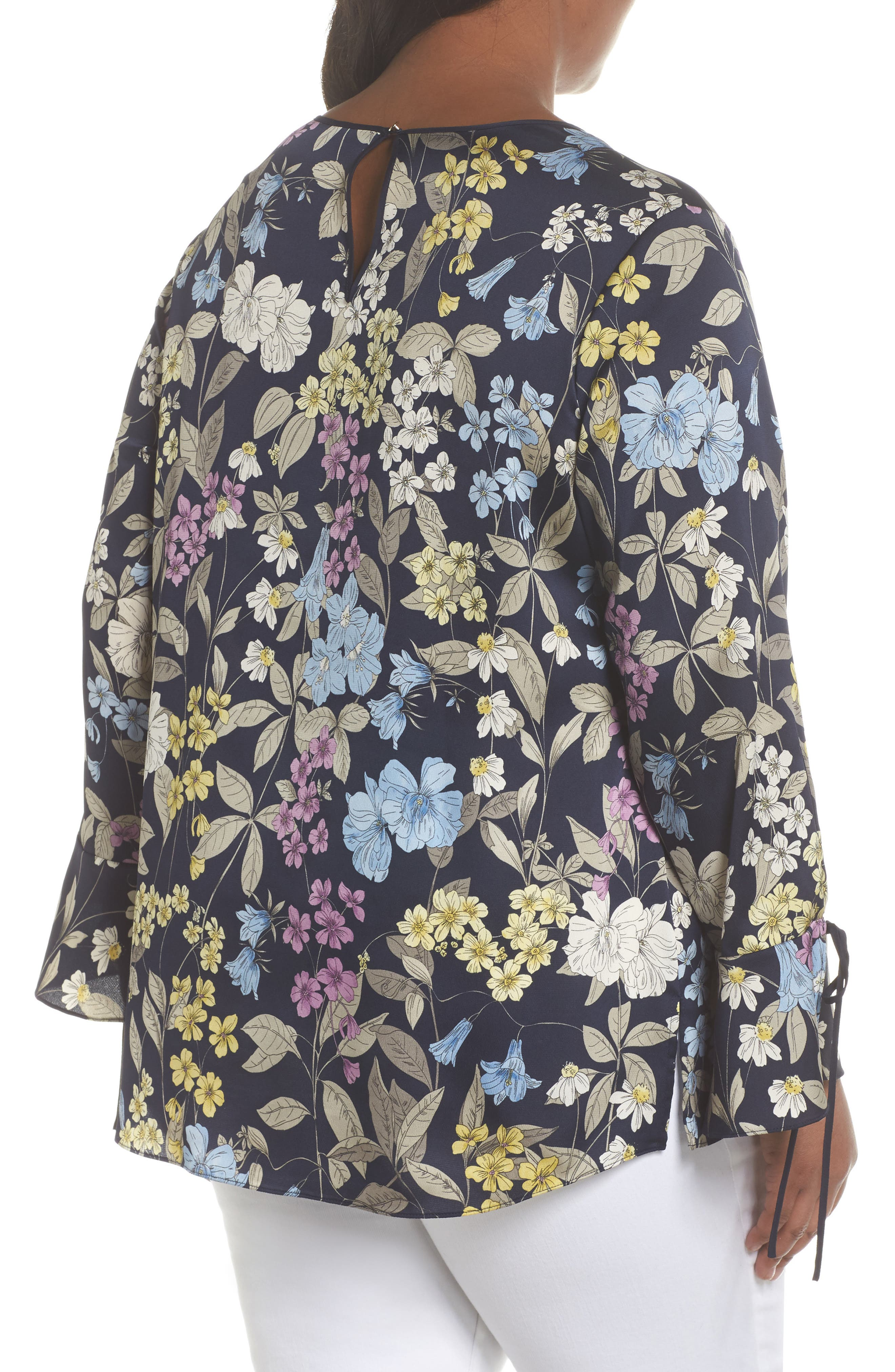 Country Floral Bell Sleeve Top,                             Alternate thumbnail 2, color,                             Night Sky