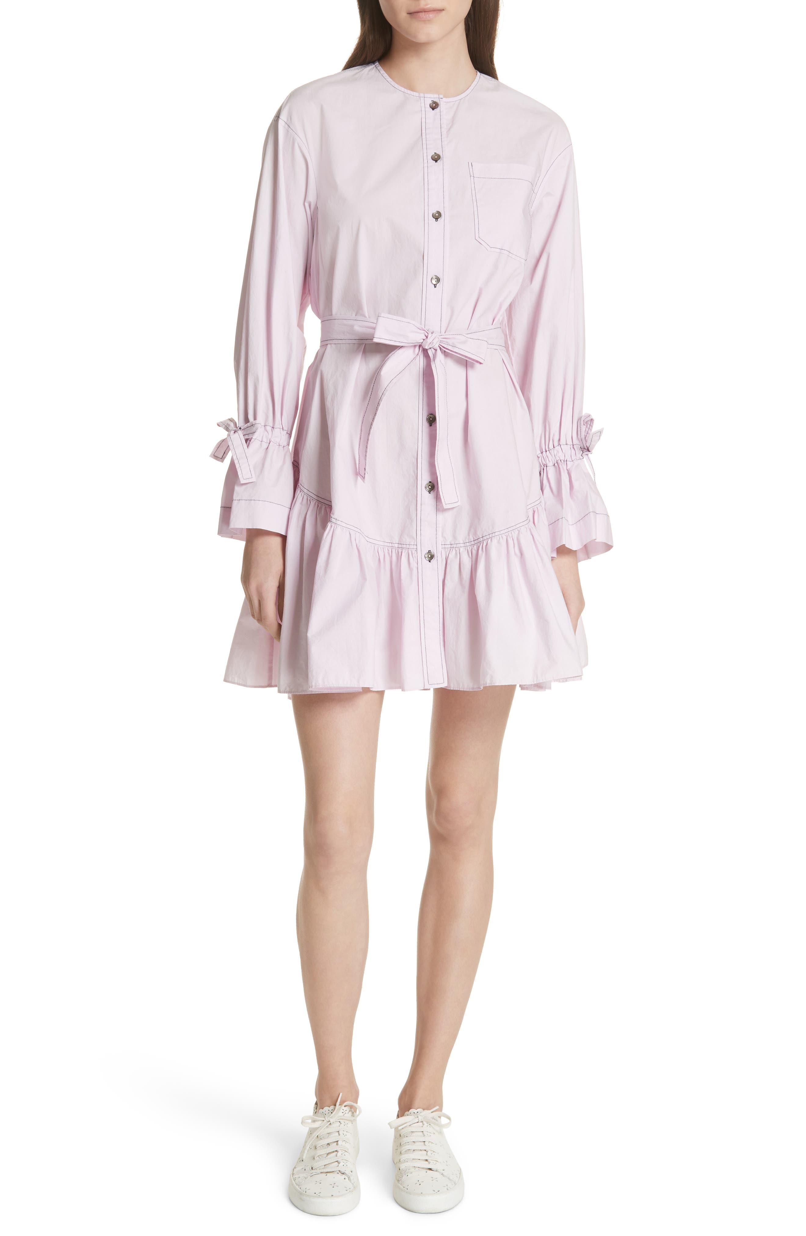 Ruffled Poplin Shirtdress,                             Main thumbnail 1, color,                             Lilac Dust