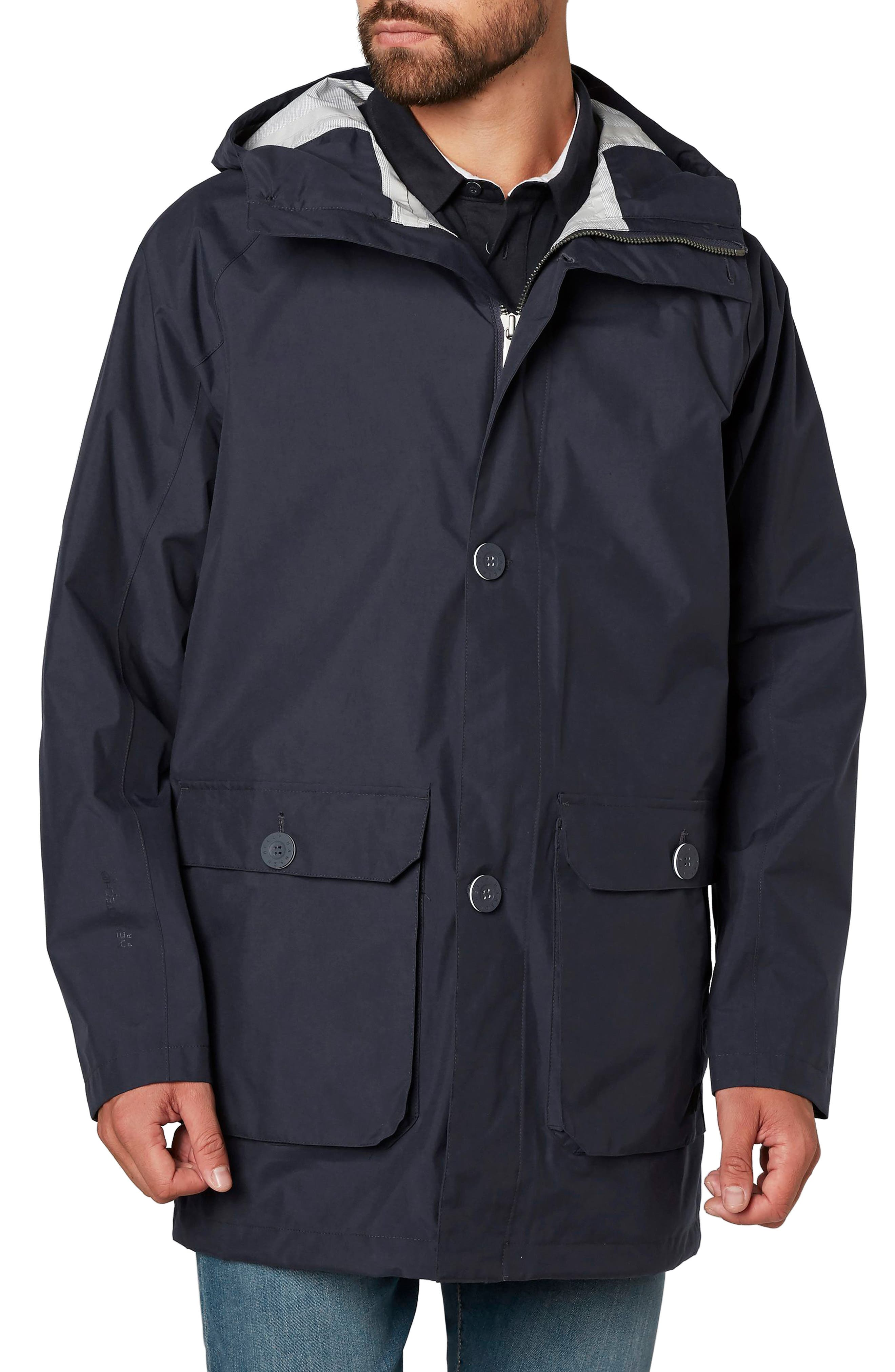 Elements Hooded Rain Jacket,                             Main thumbnail 1, color,                             Graphite Blue