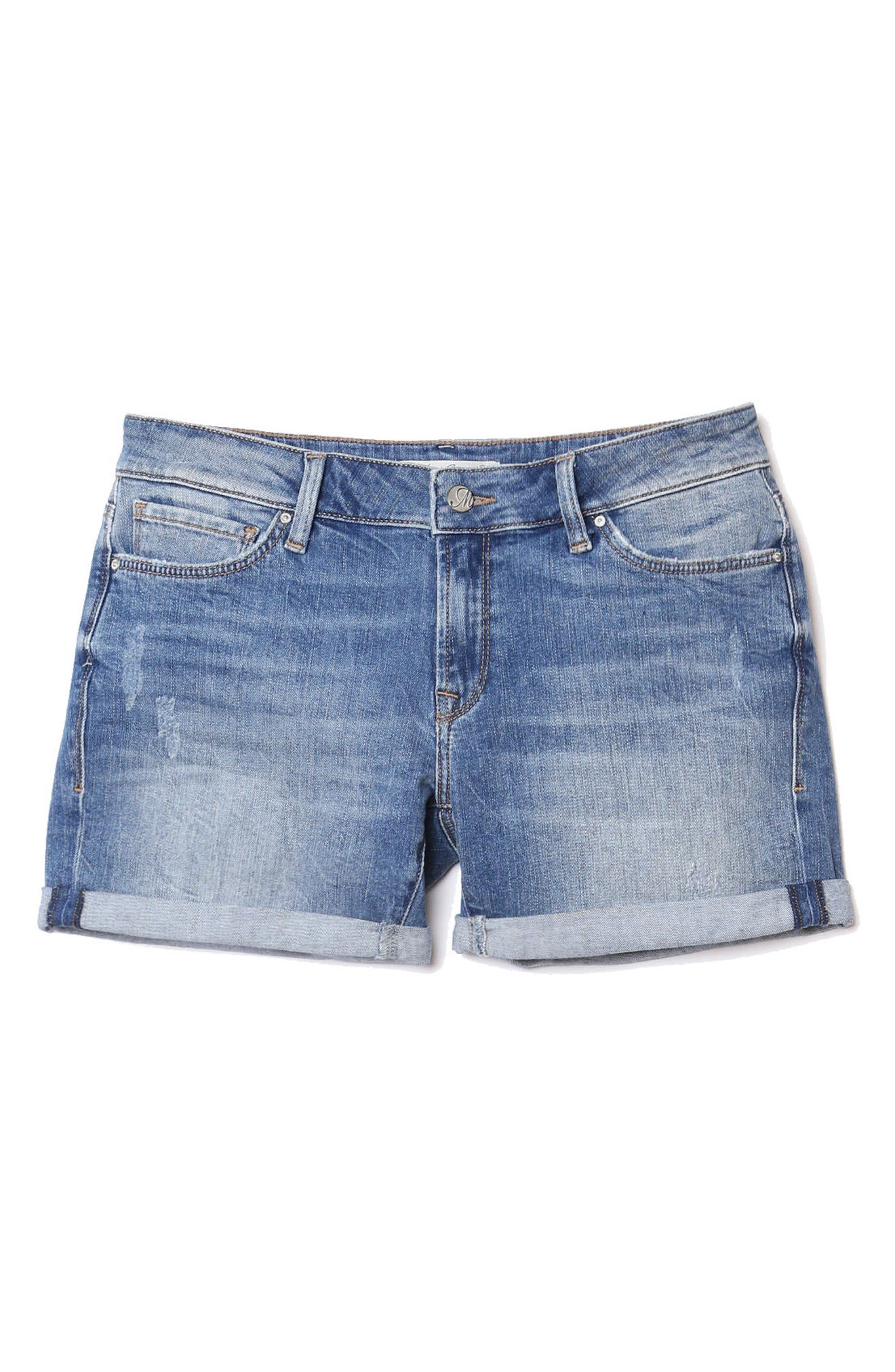 Pixie Denim Boyfriend Shorts,                             Alternate thumbnail 5, color,                             Distressed Vintage