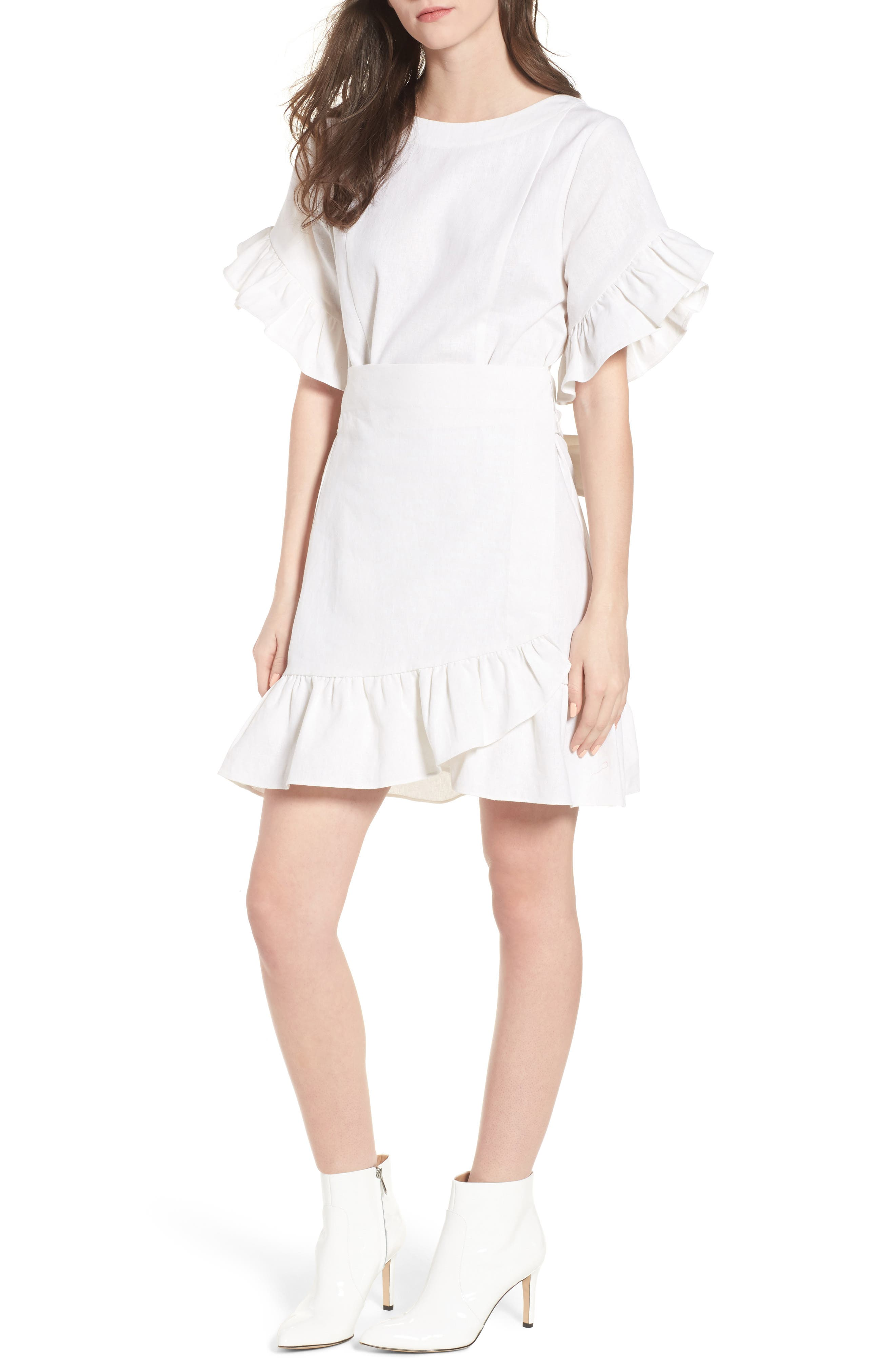 Ruffle Faux Wrap Dress,                             Main thumbnail 1, color,                             Ivory