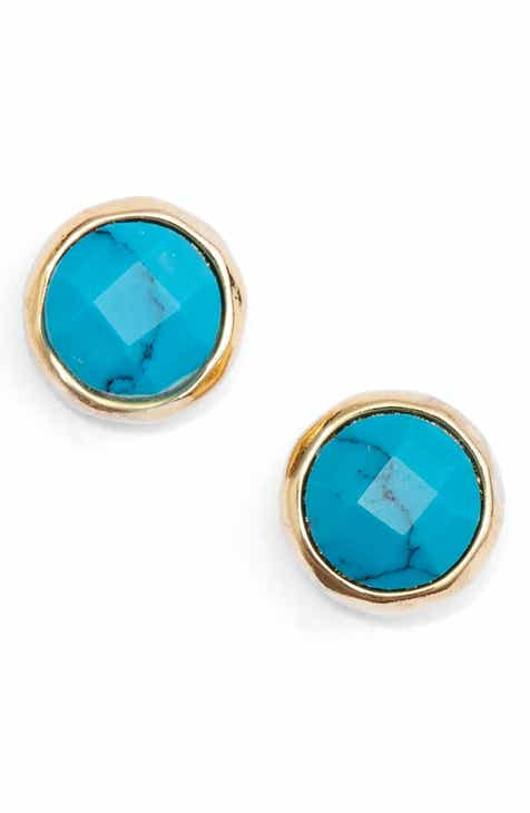 genuine earrings natural pin jewel turquoise stud studs and