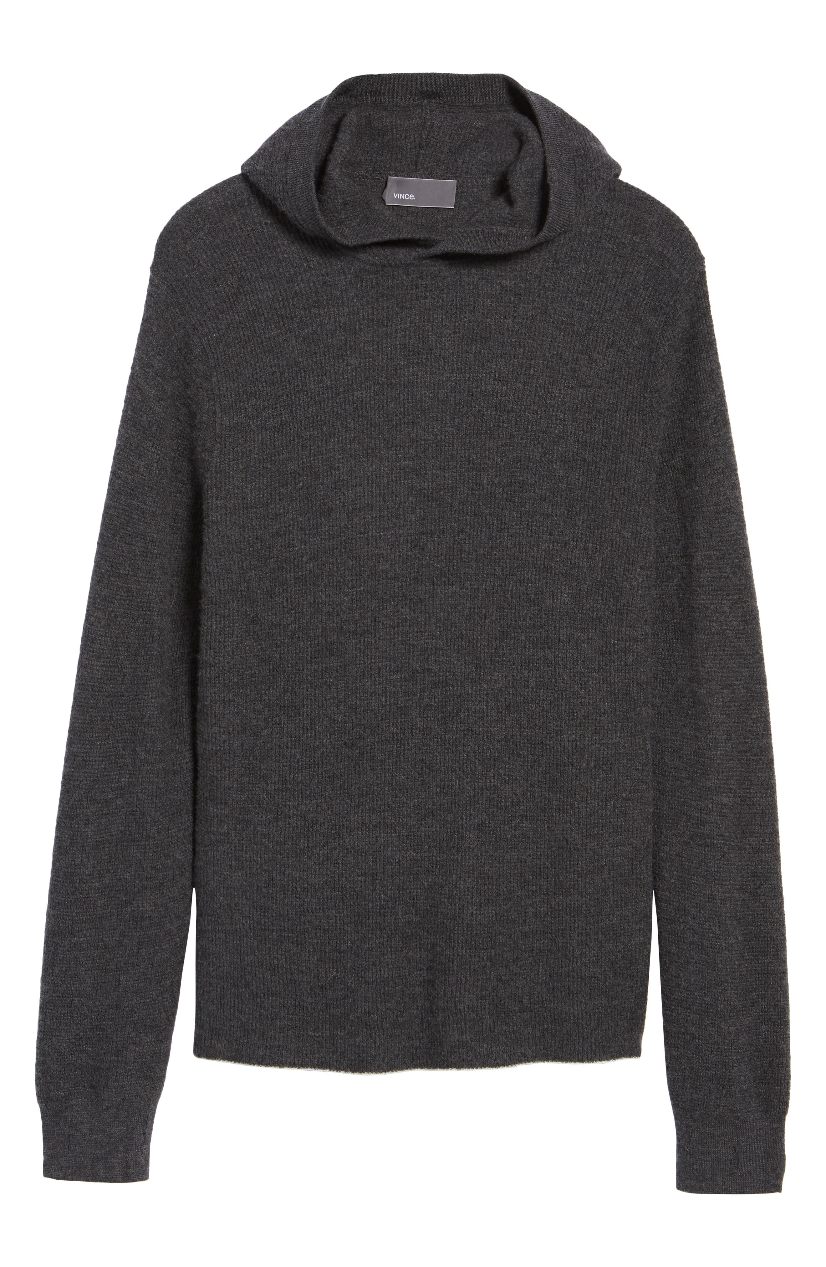Alternate Image 6  - Vince Thermal Knit Cashmere Hooded Sweater