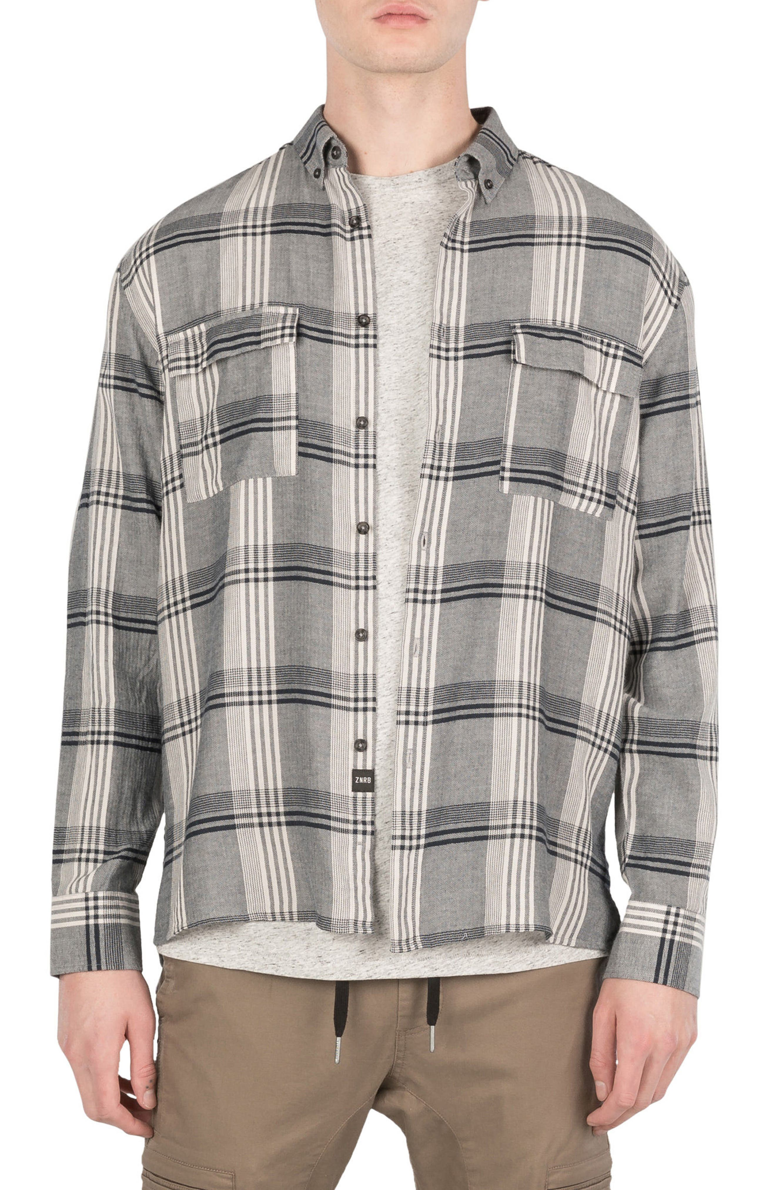Plaid Box Shirt,                         Main,                         color, Navy/ White