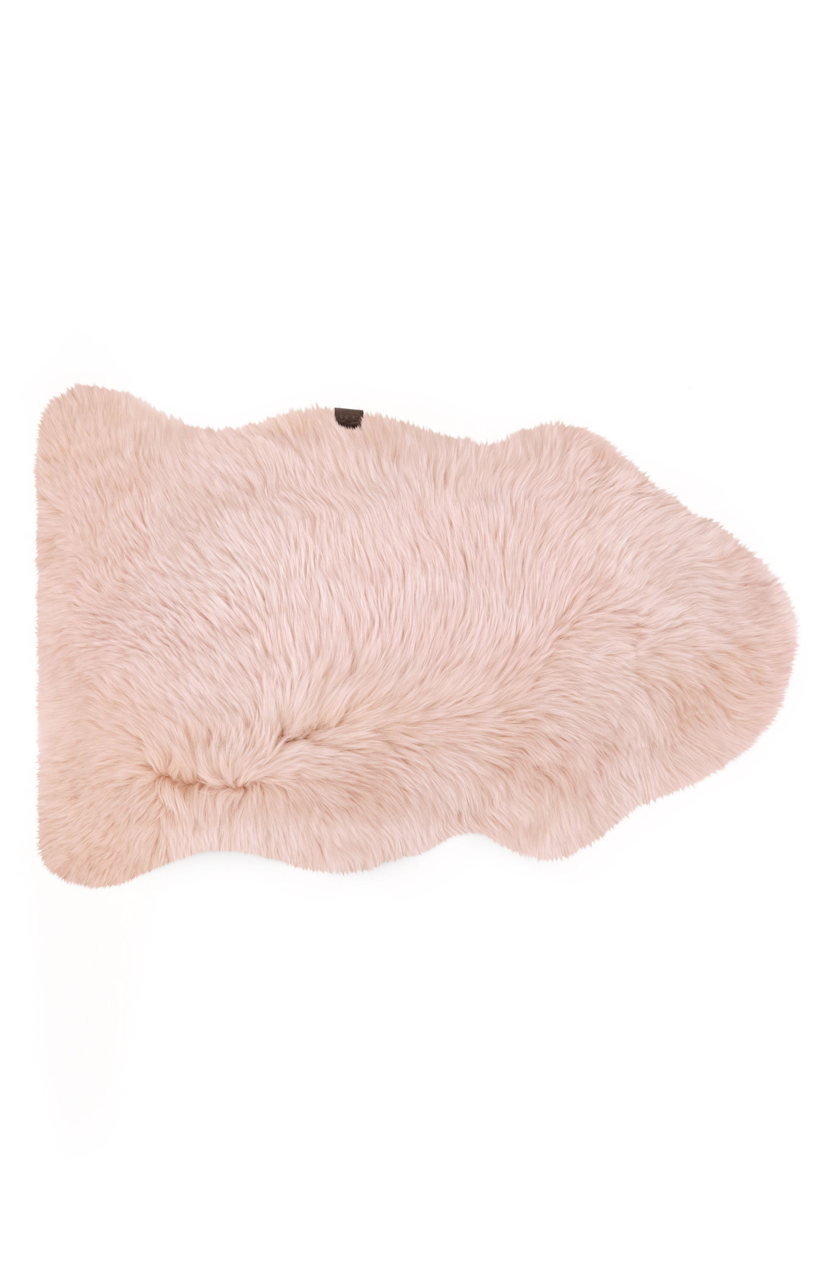 Genuine Sheepskin Rug,                         Main,                         color, Blush