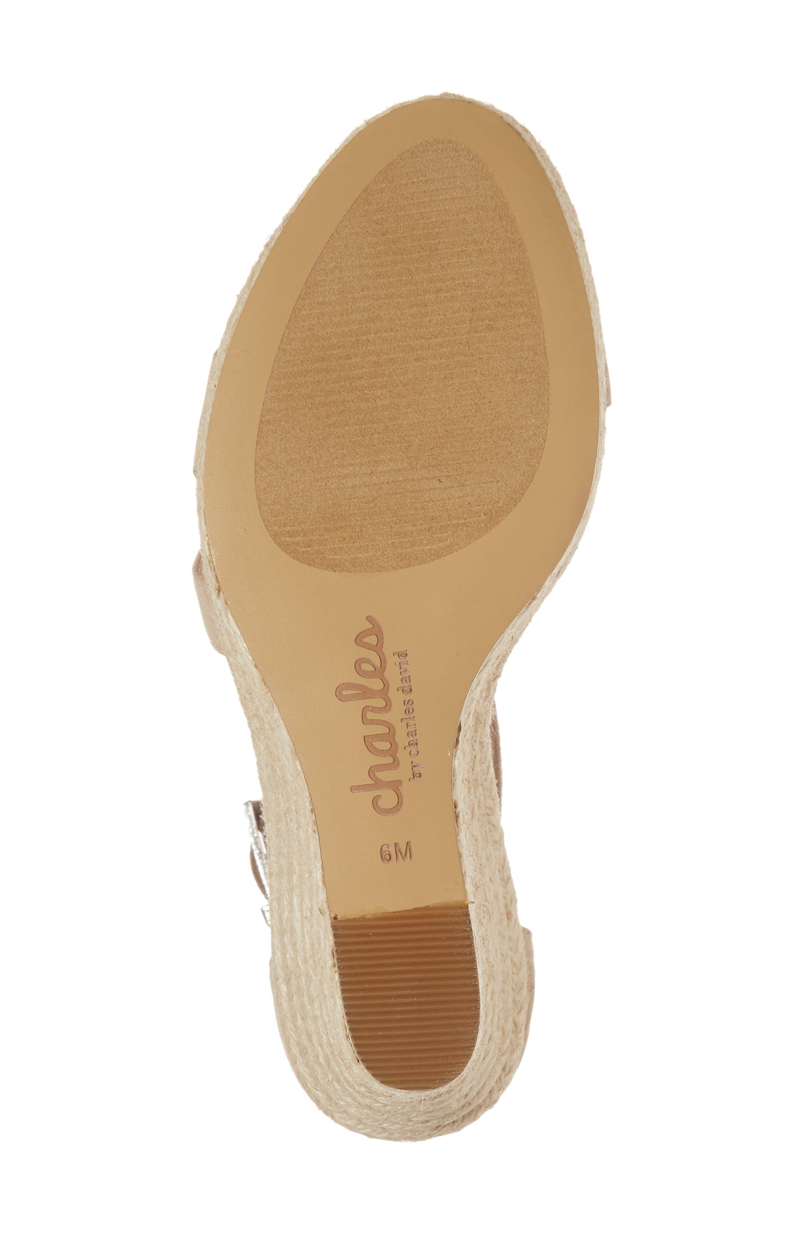 Lou Asymmetrical Wedge Sandal,                             Alternate thumbnail 6, color,                             Nude Suede
