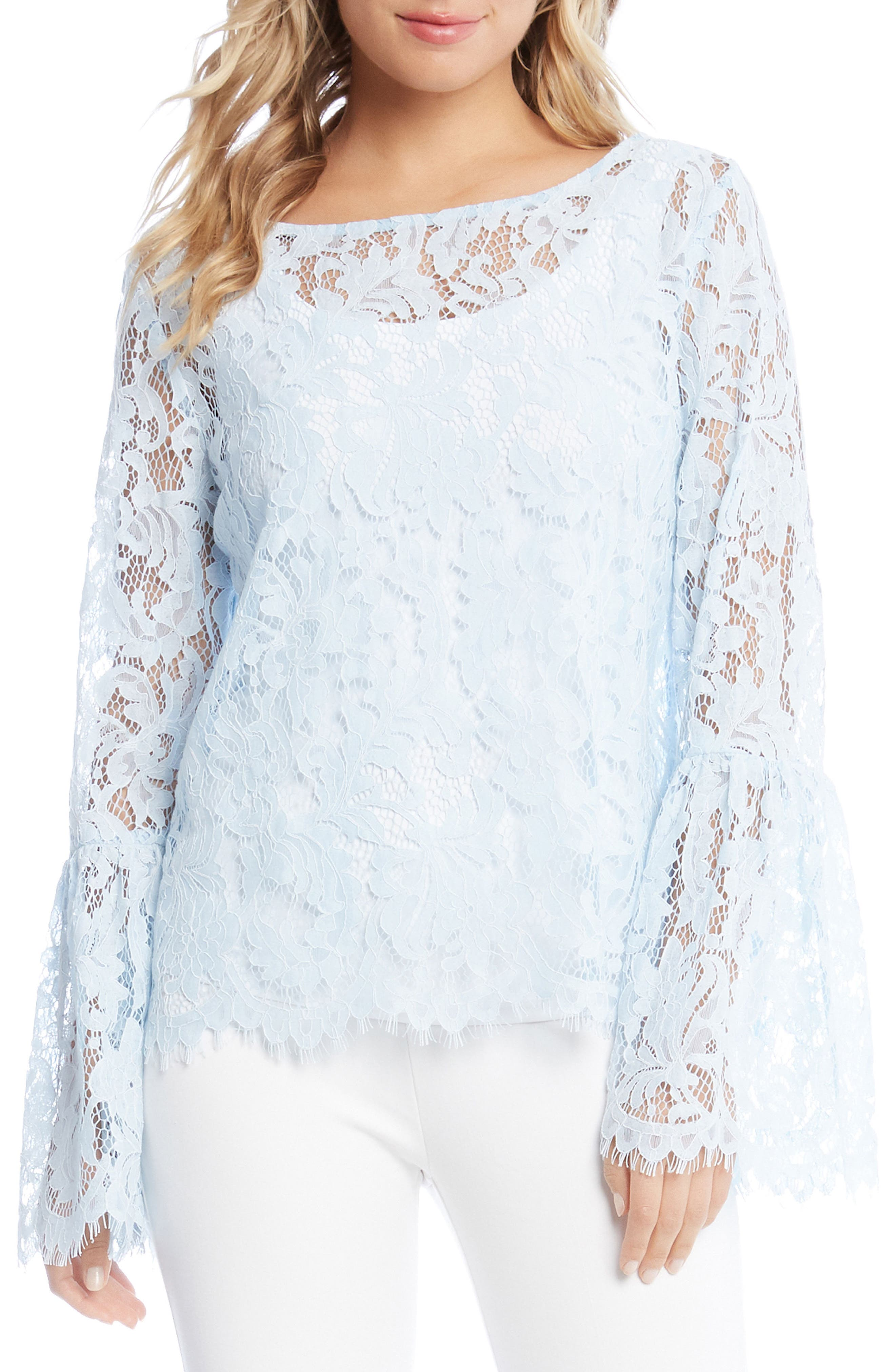 Bell Sleeve Lace Top,                         Main,                         color, Power Blue