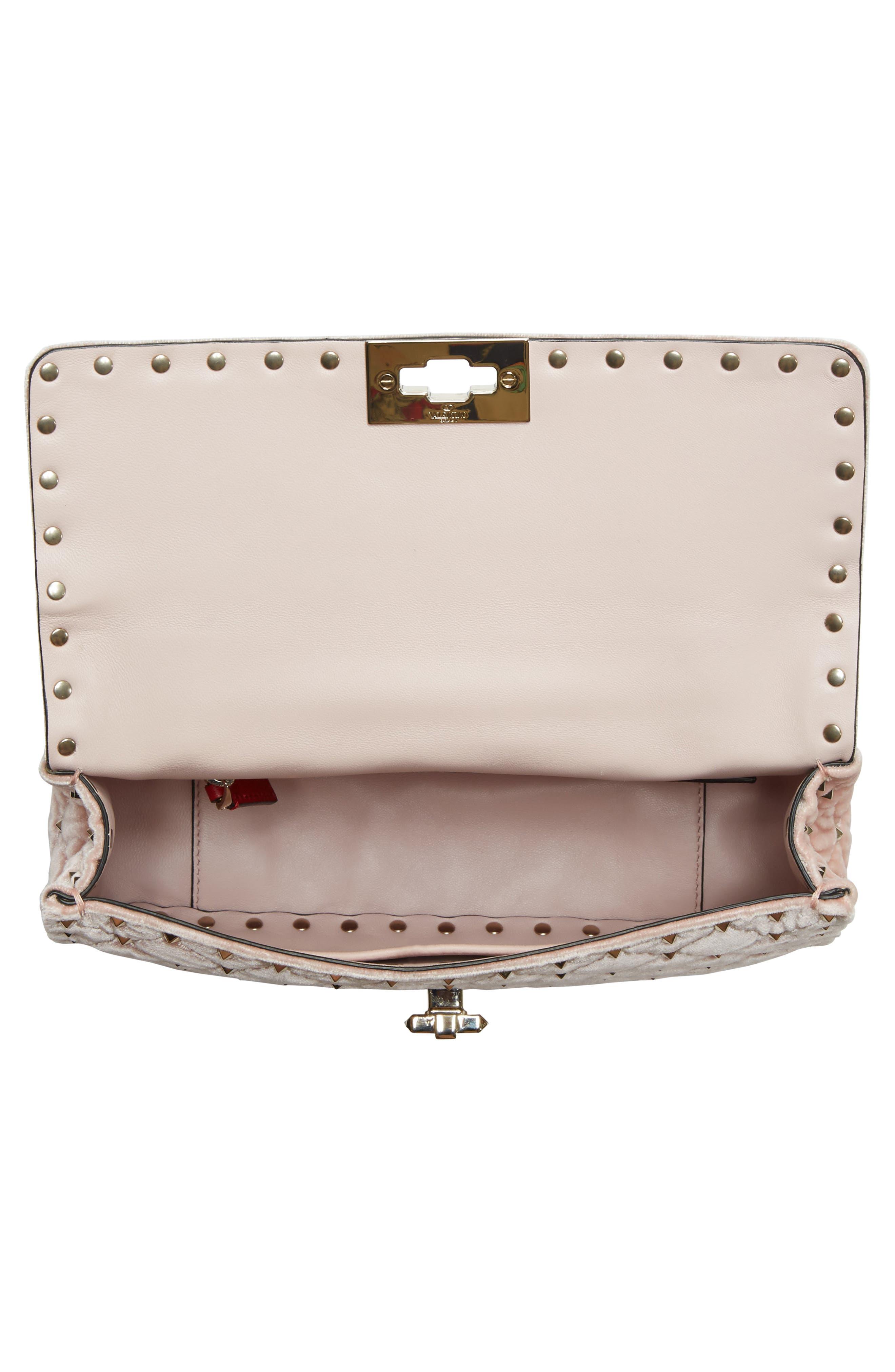 Rockstud Spike Velvet Shoulder Bag,                             Alternate thumbnail 4, color,                             Pink