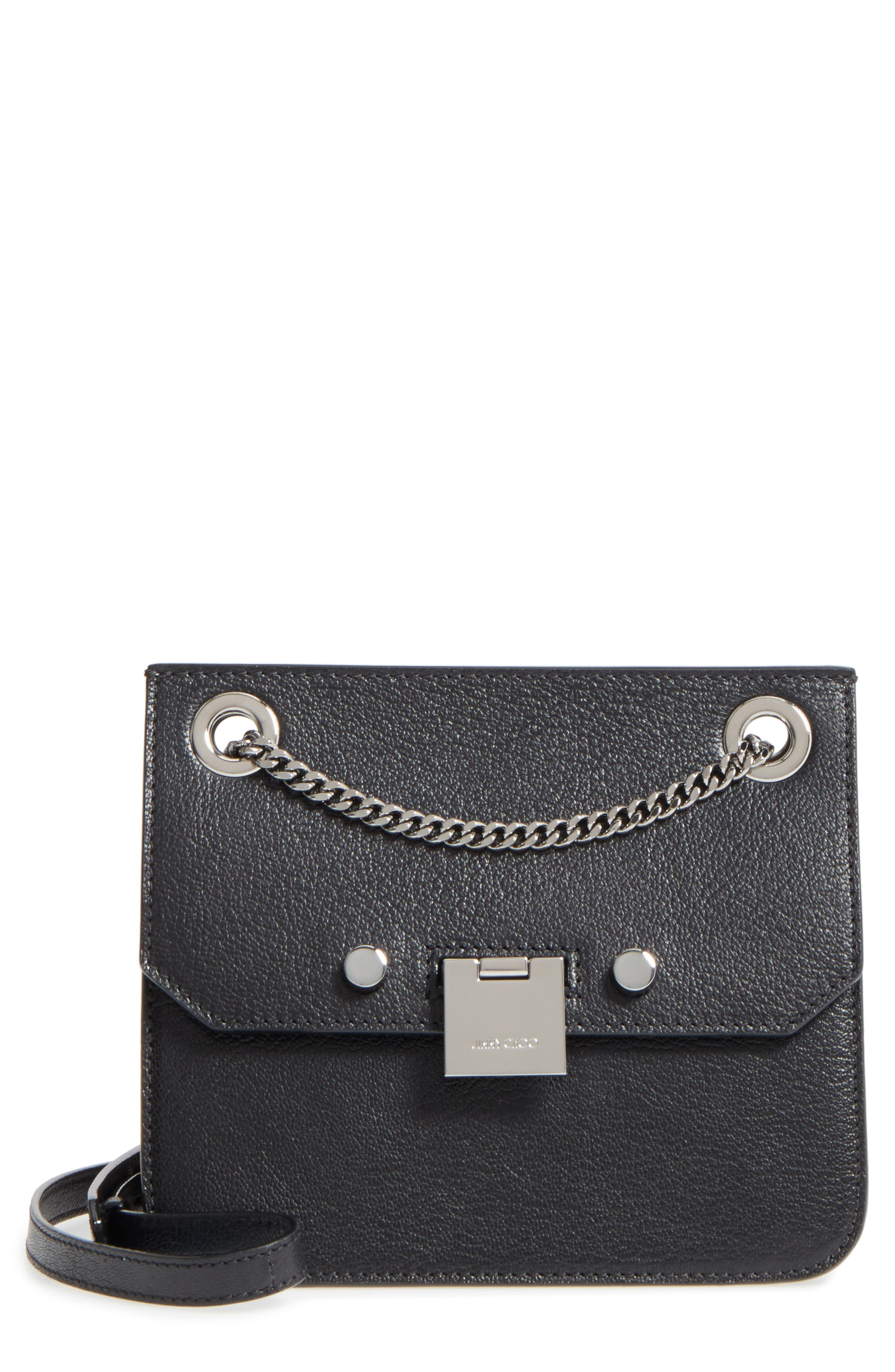 Rebel Leather Crossbody Bag,                             Main thumbnail 1, color,                             Black/ Gunmetal