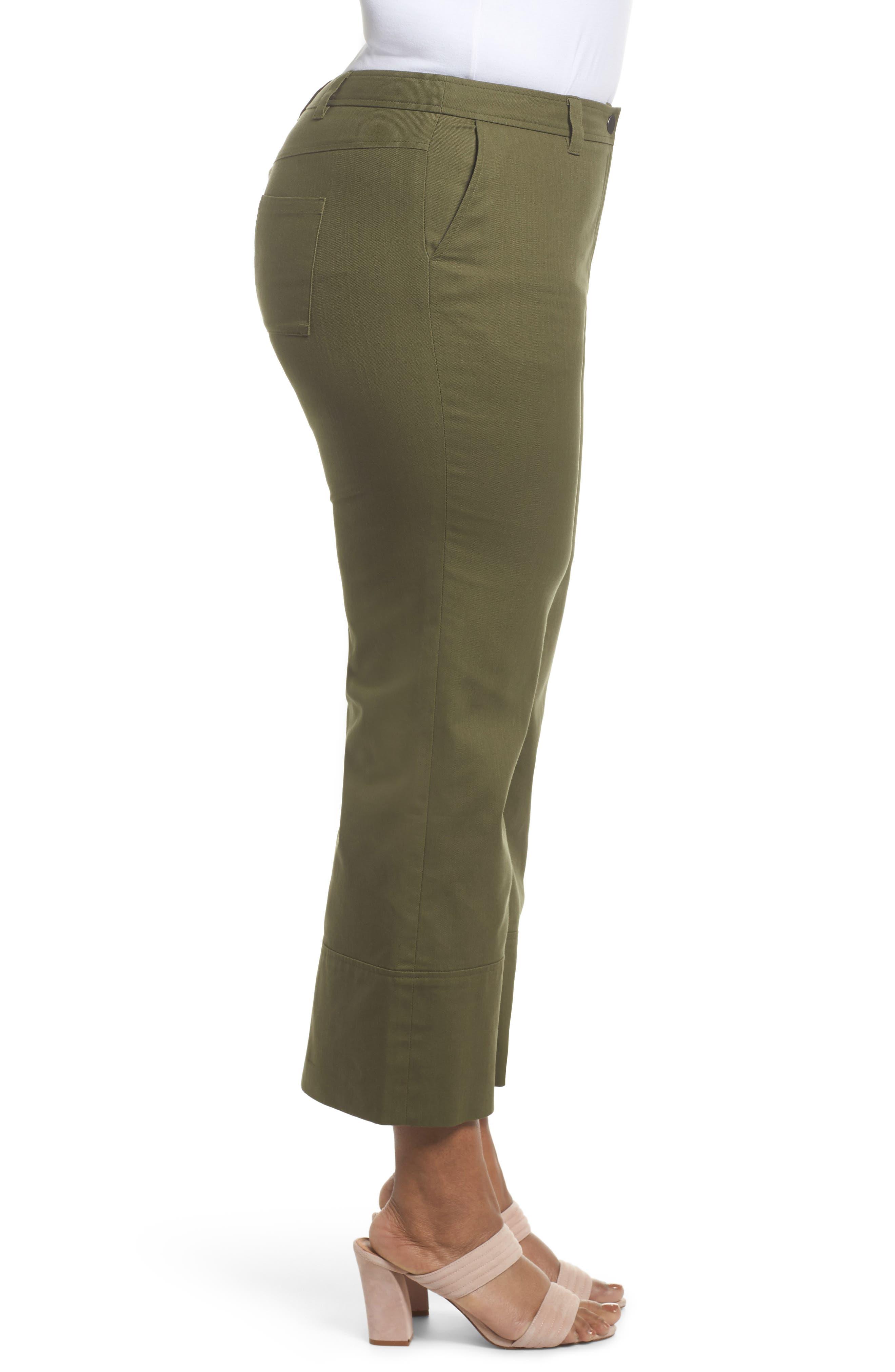 Wide Leg Ankle Pants,                             Alternate thumbnail 3, color,                             Olive Moss