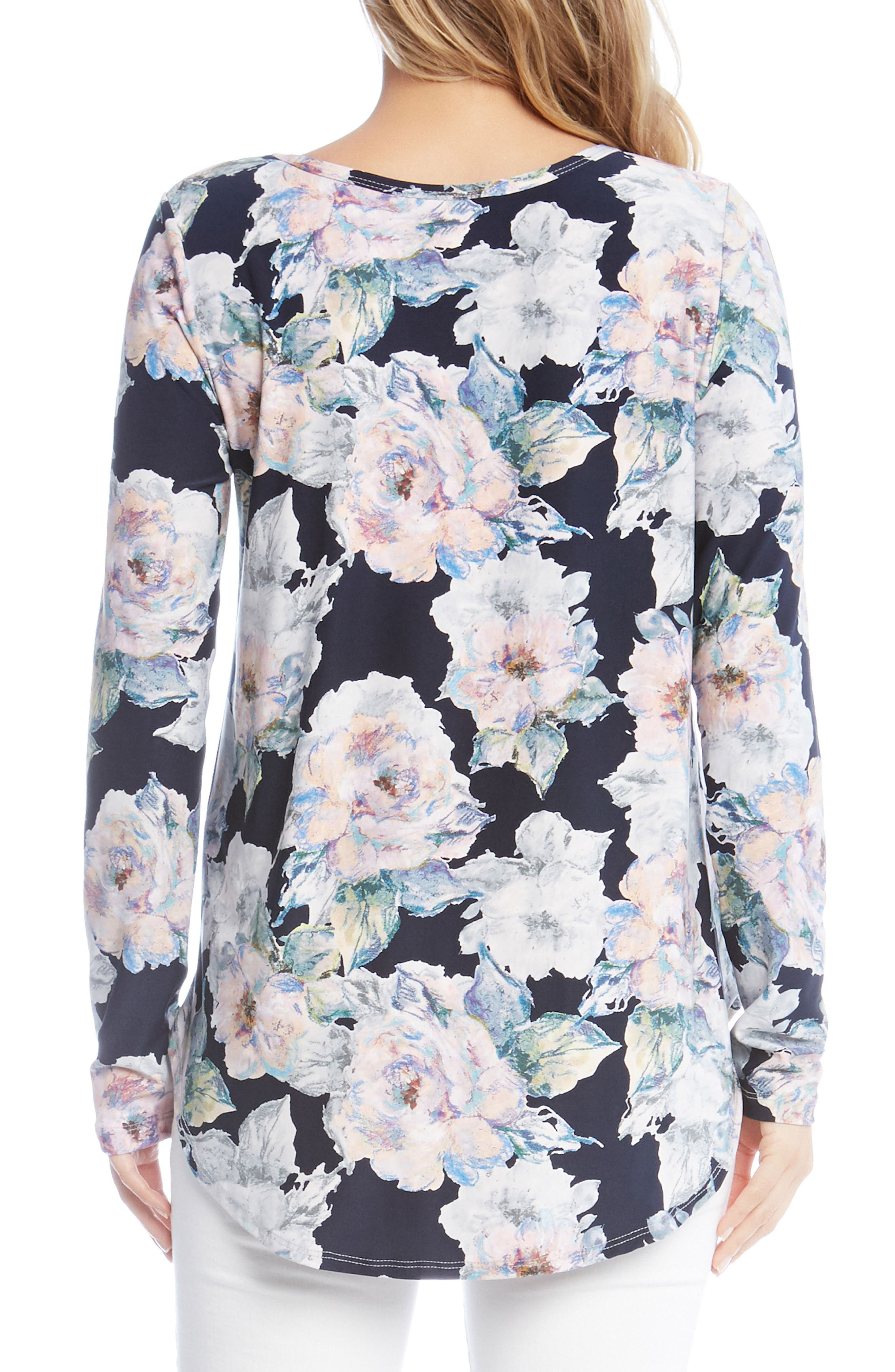 Floral Shirttail Top,                             Alternate thumbnail 2, color,                             Floral