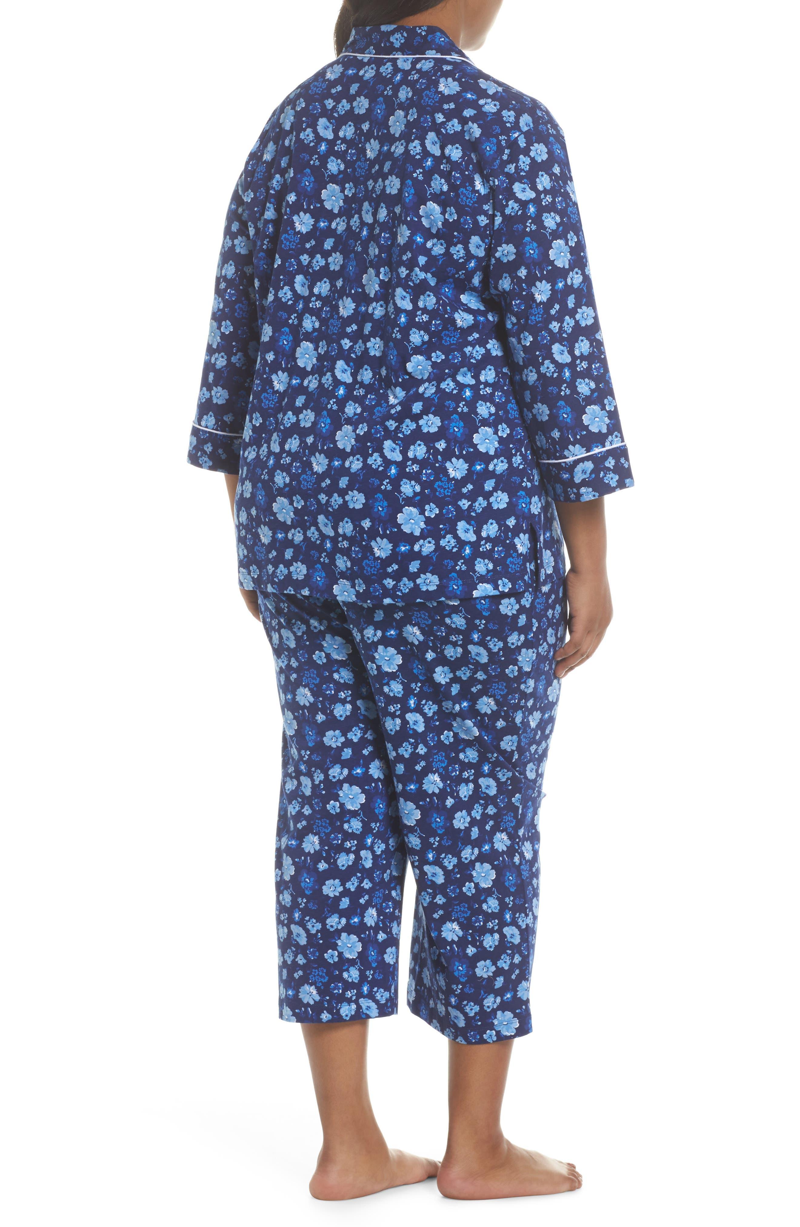 Crop Pajamas,                             Alternate thumbnail 2, color,                             Blue Floral
