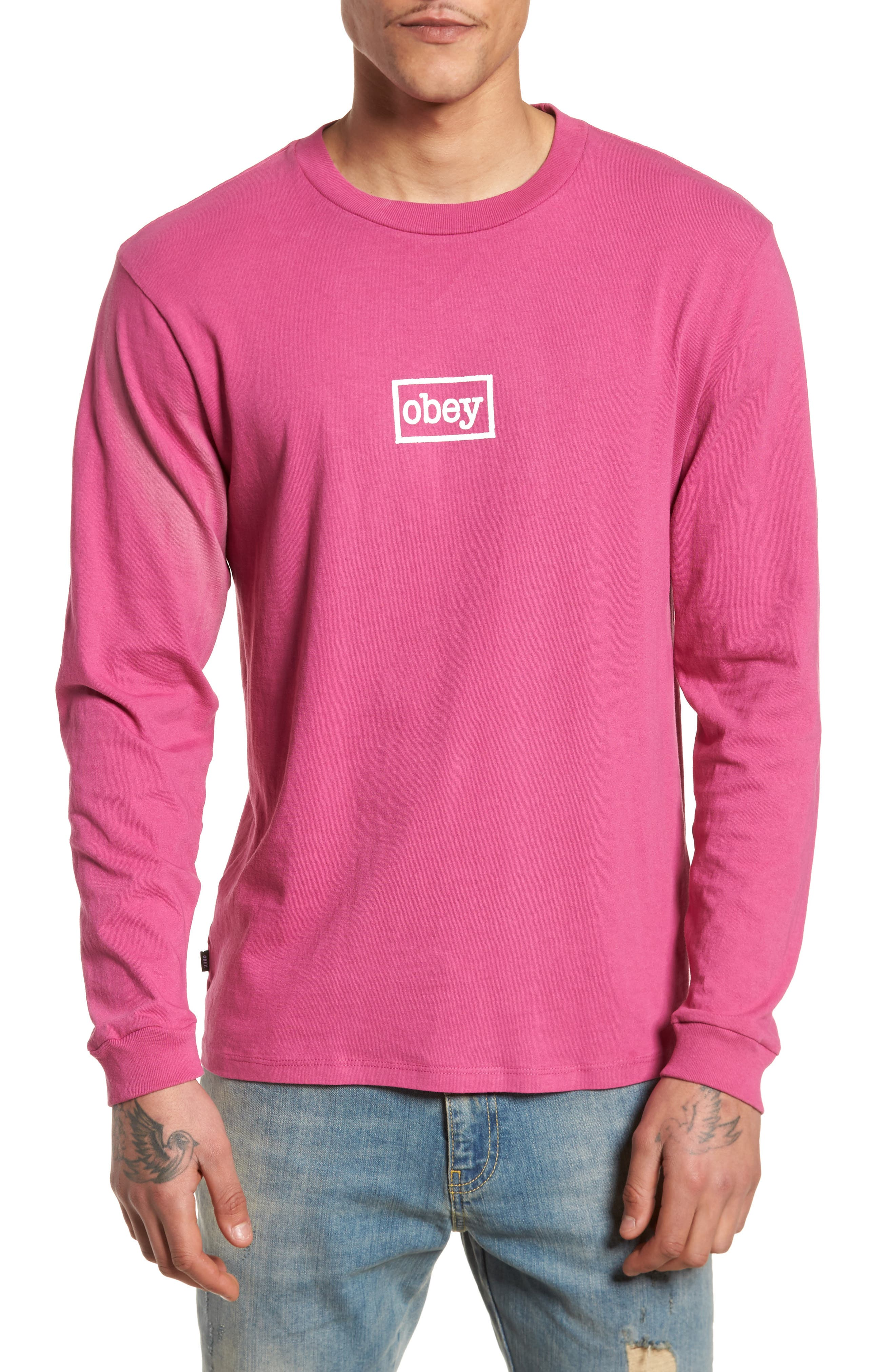 Typewriter Pigment Dyed T-Shirt,                         Main,                         color, Dusty Magenta