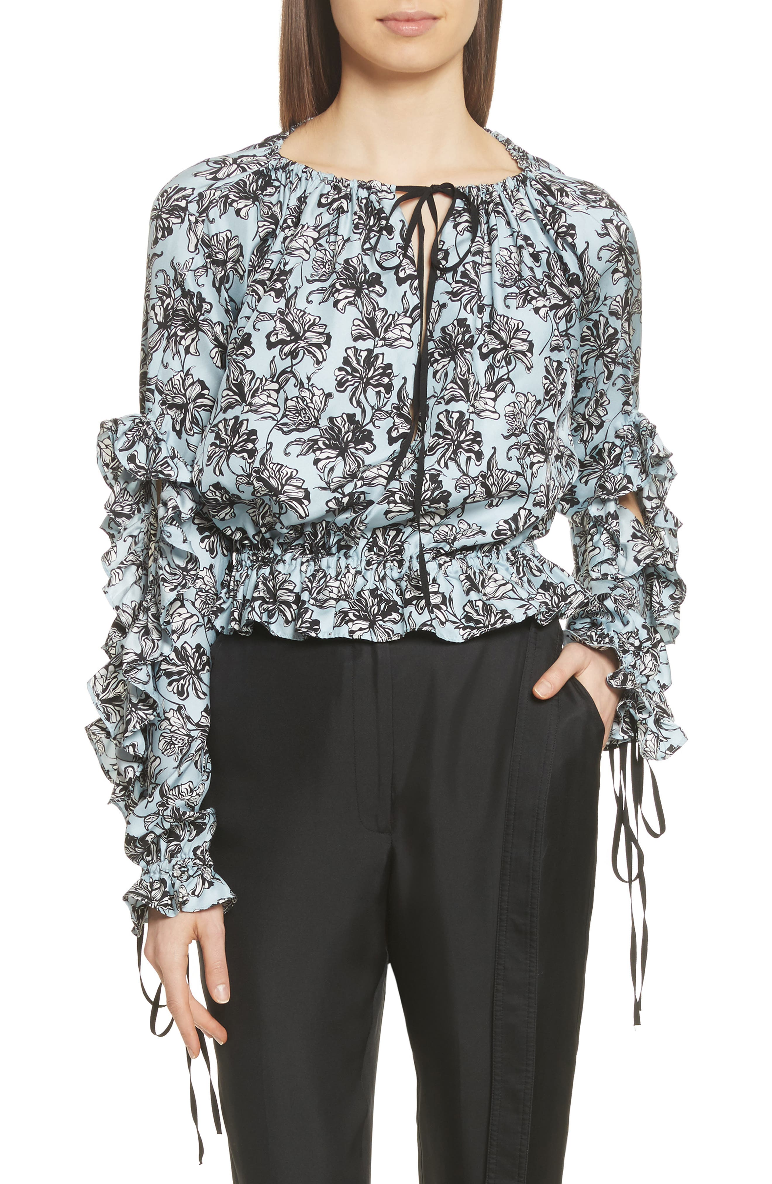 Ruffle Silk Blouse,                         Main,                         color, Blue Orchid