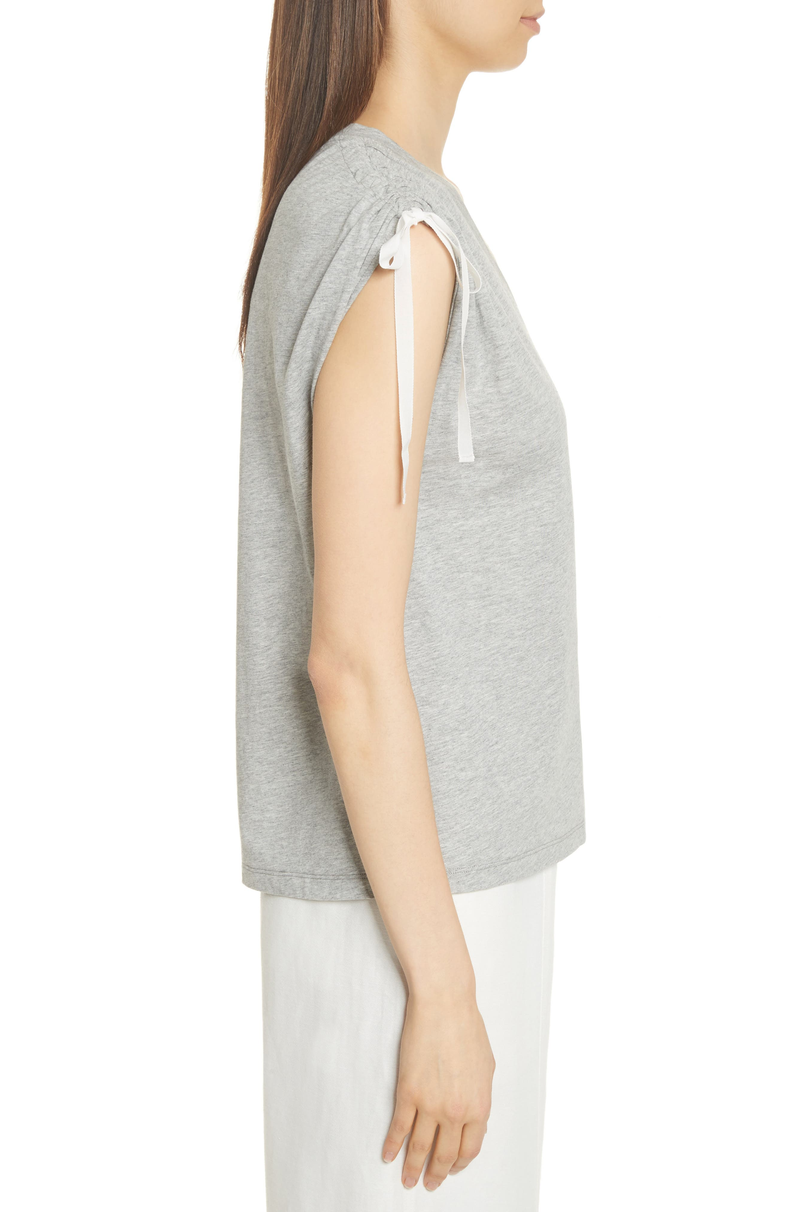 Ruched Shoulder Tee,                             Alternate thumbnail 3, color,                             Heather Grey
