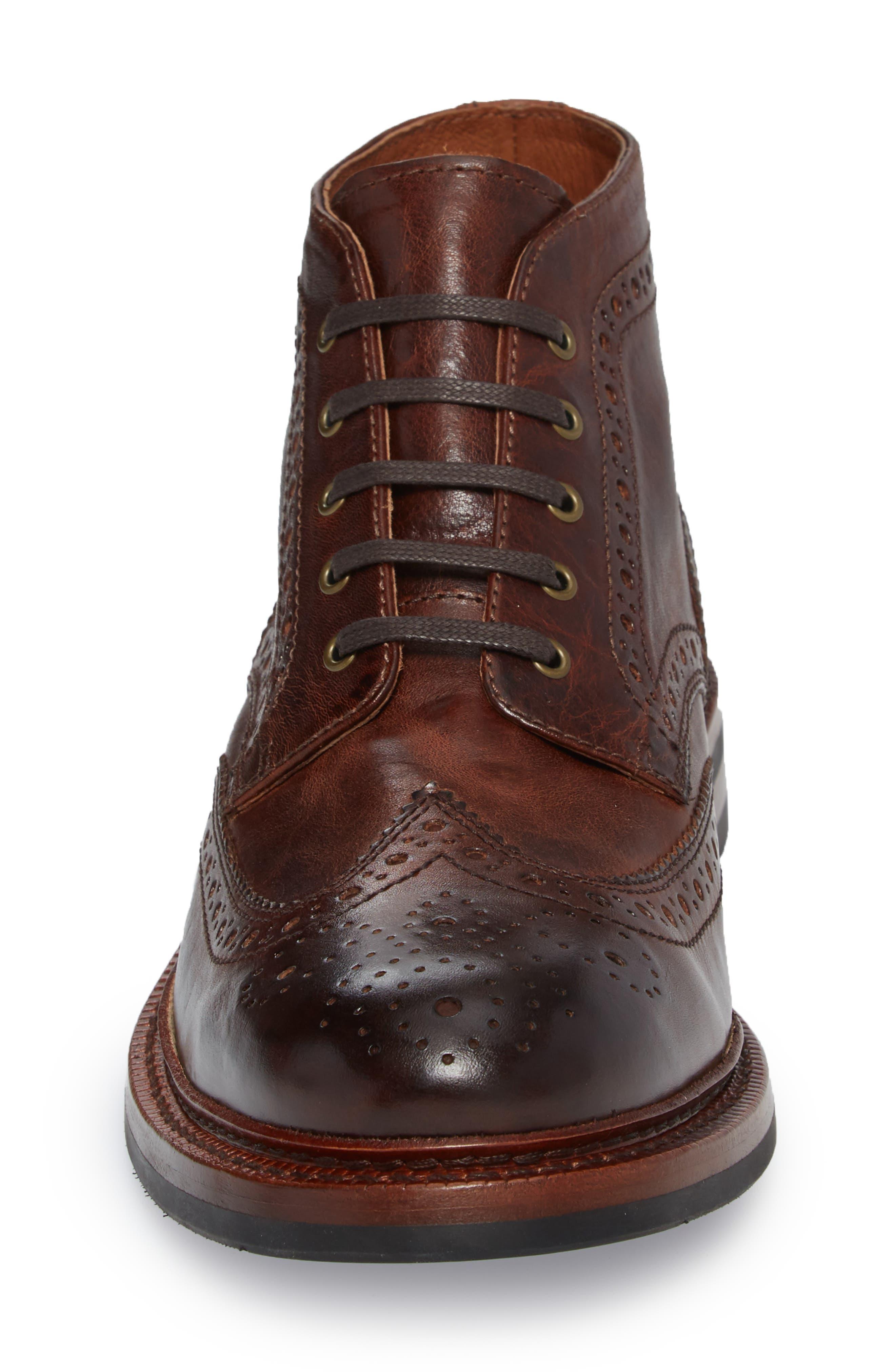 Graham Wingtip Boot,                             Alternate thumbnail 4, color,                             Cognac Leather