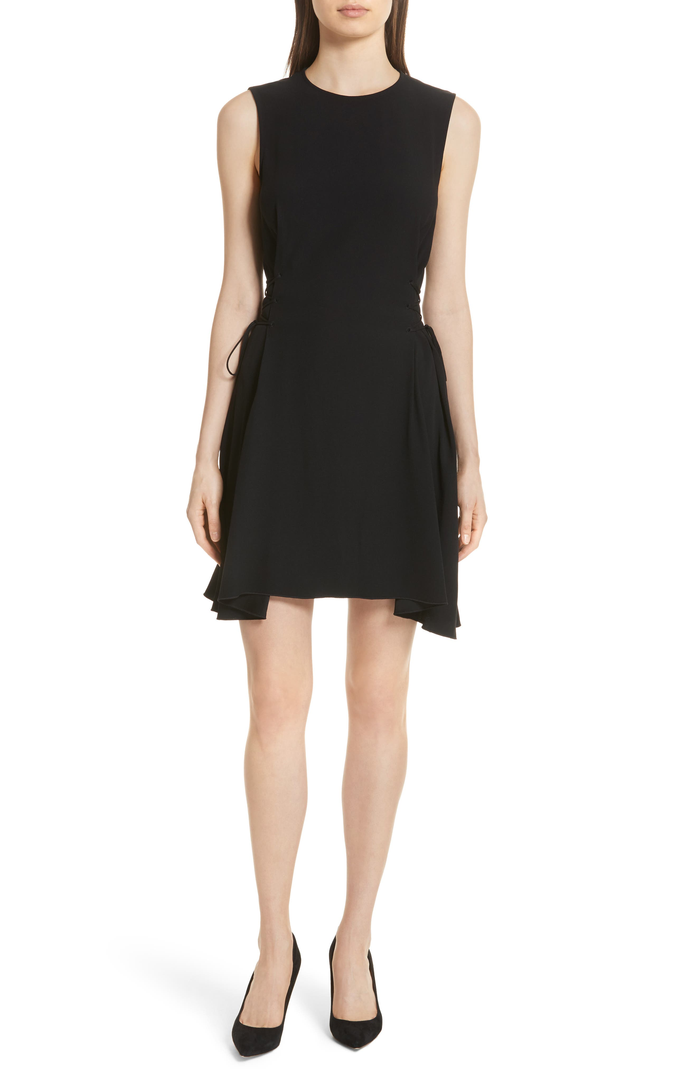 Lace-Up Fit & Flare Dress,                         Main,                         color, Black