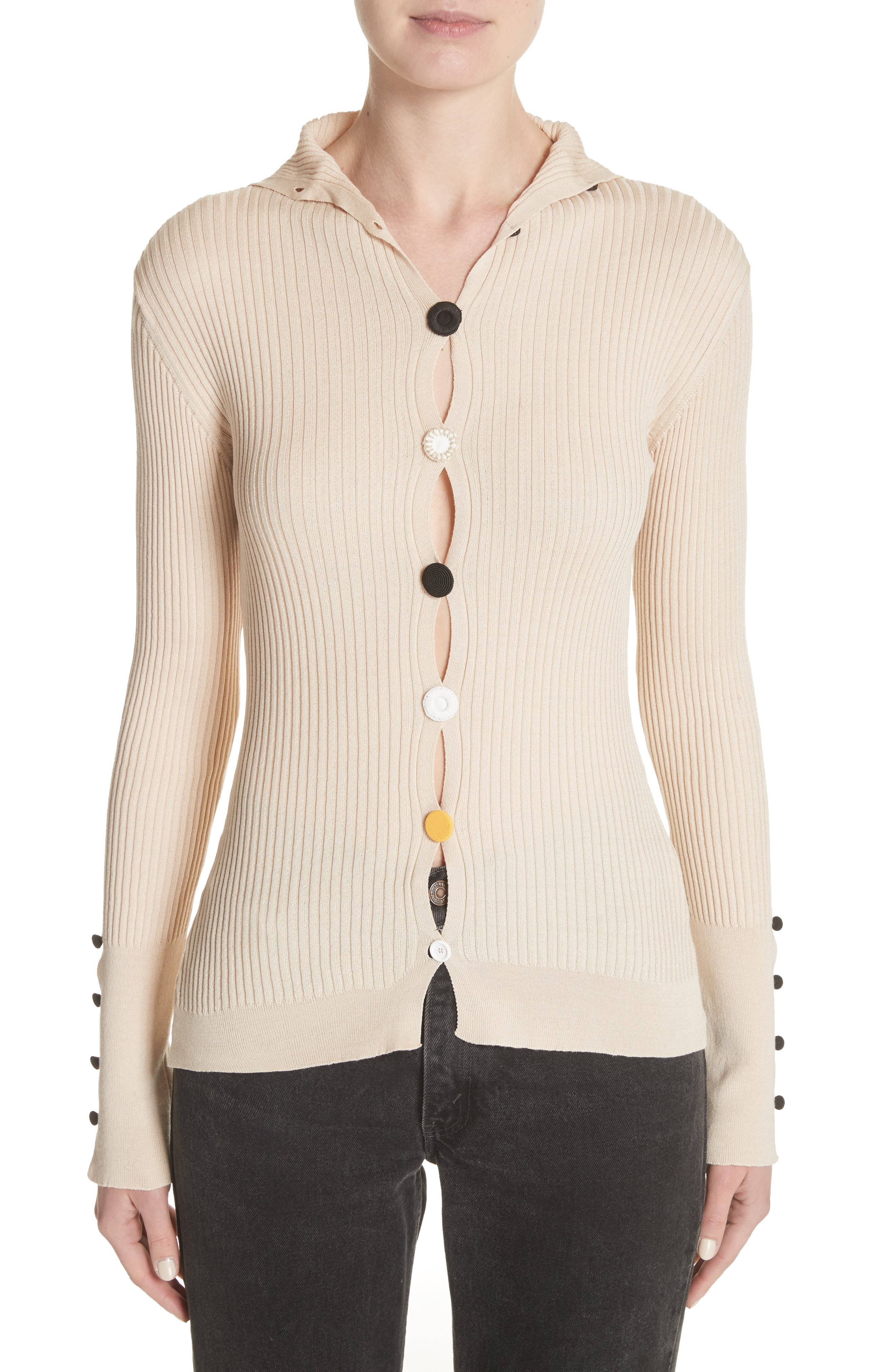 Le Cardigan Ribbed Button Cardigan,                             Main thumbnail 1, color,                             Beige