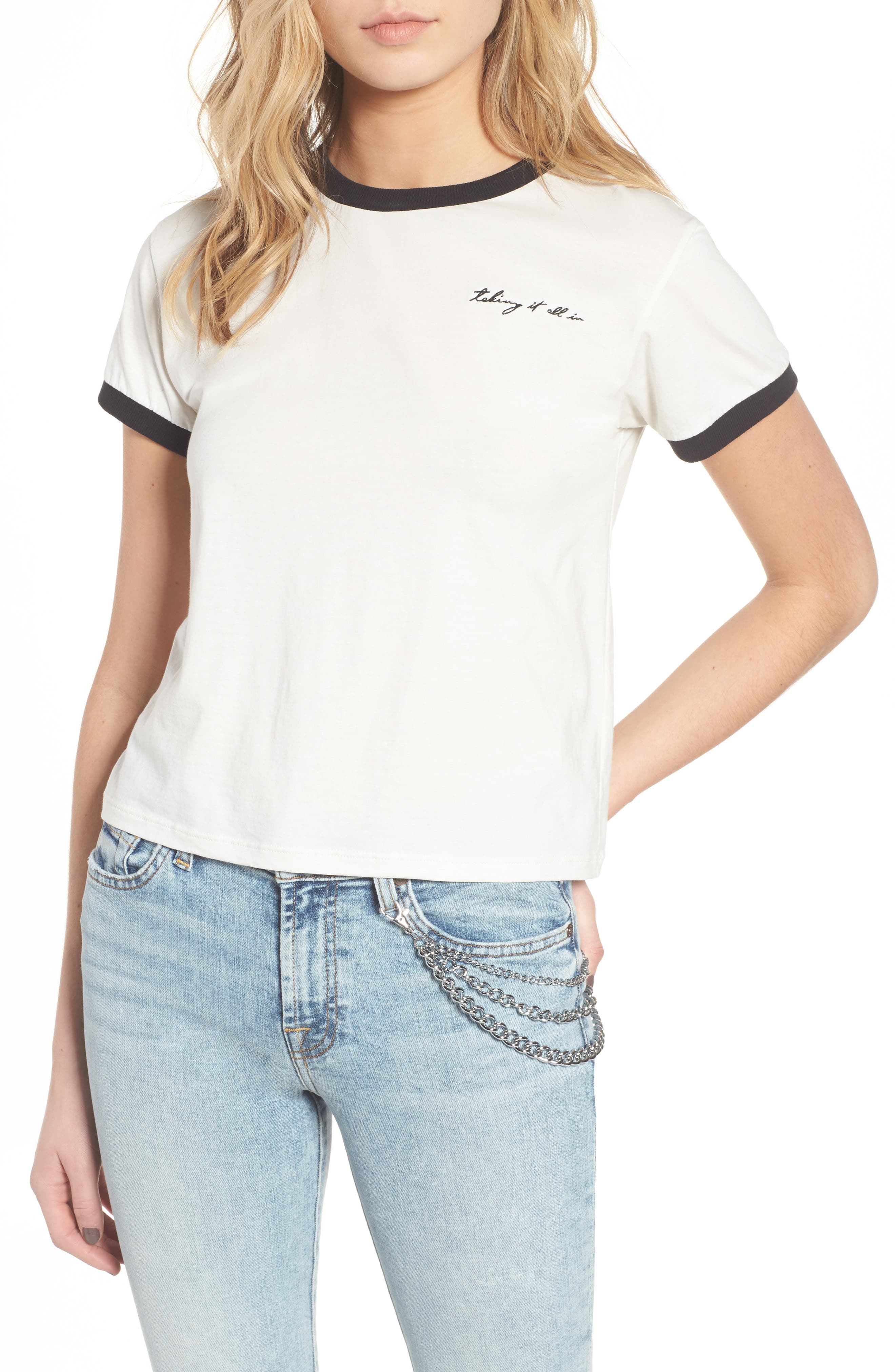 Embroidered Ringer Tee,                         Main,                         color, White W/ Black Embroidery
