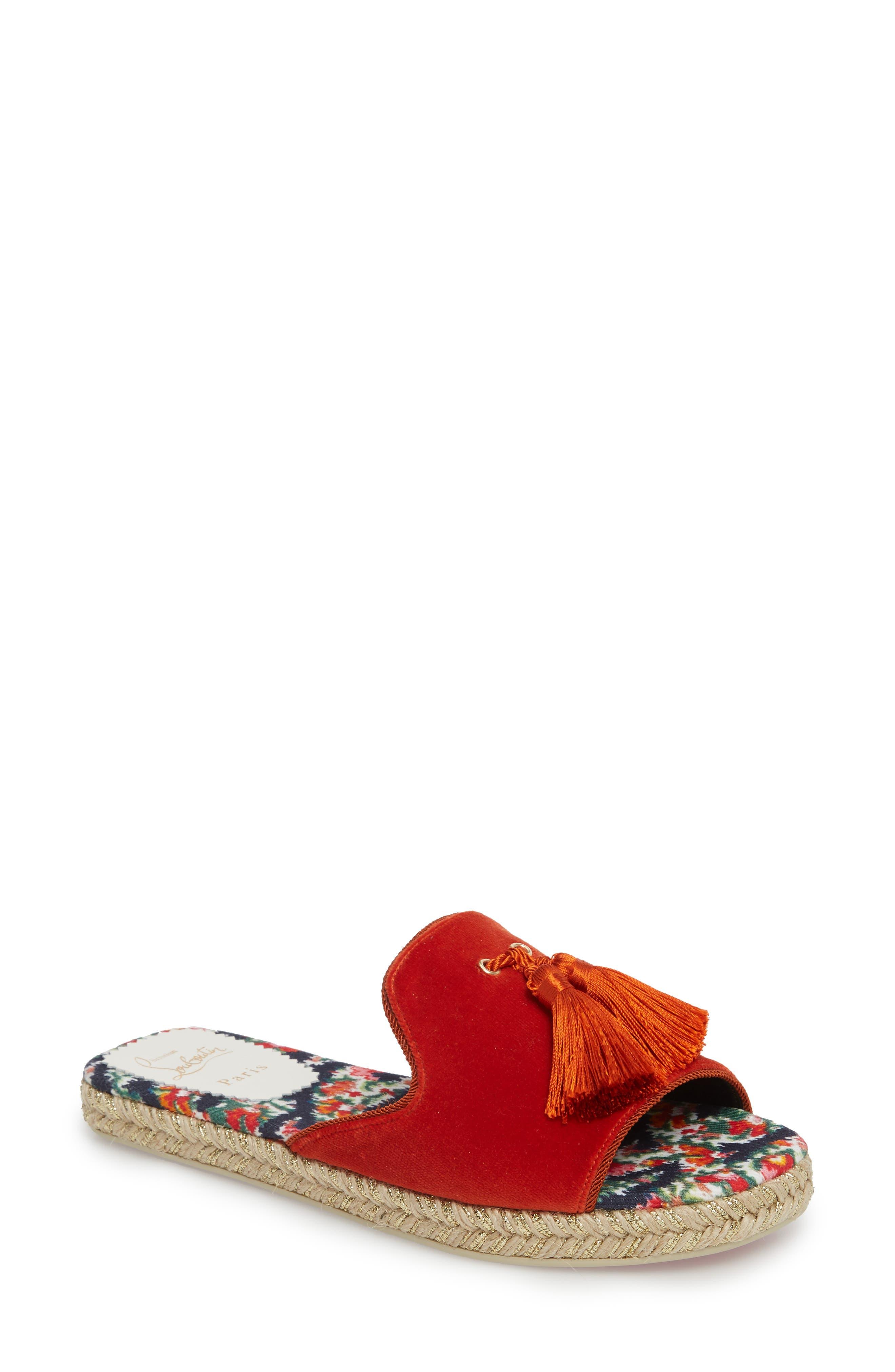 Pacha Tassel Open Toe Mule,                         Main,                         color, Bisou Orange
