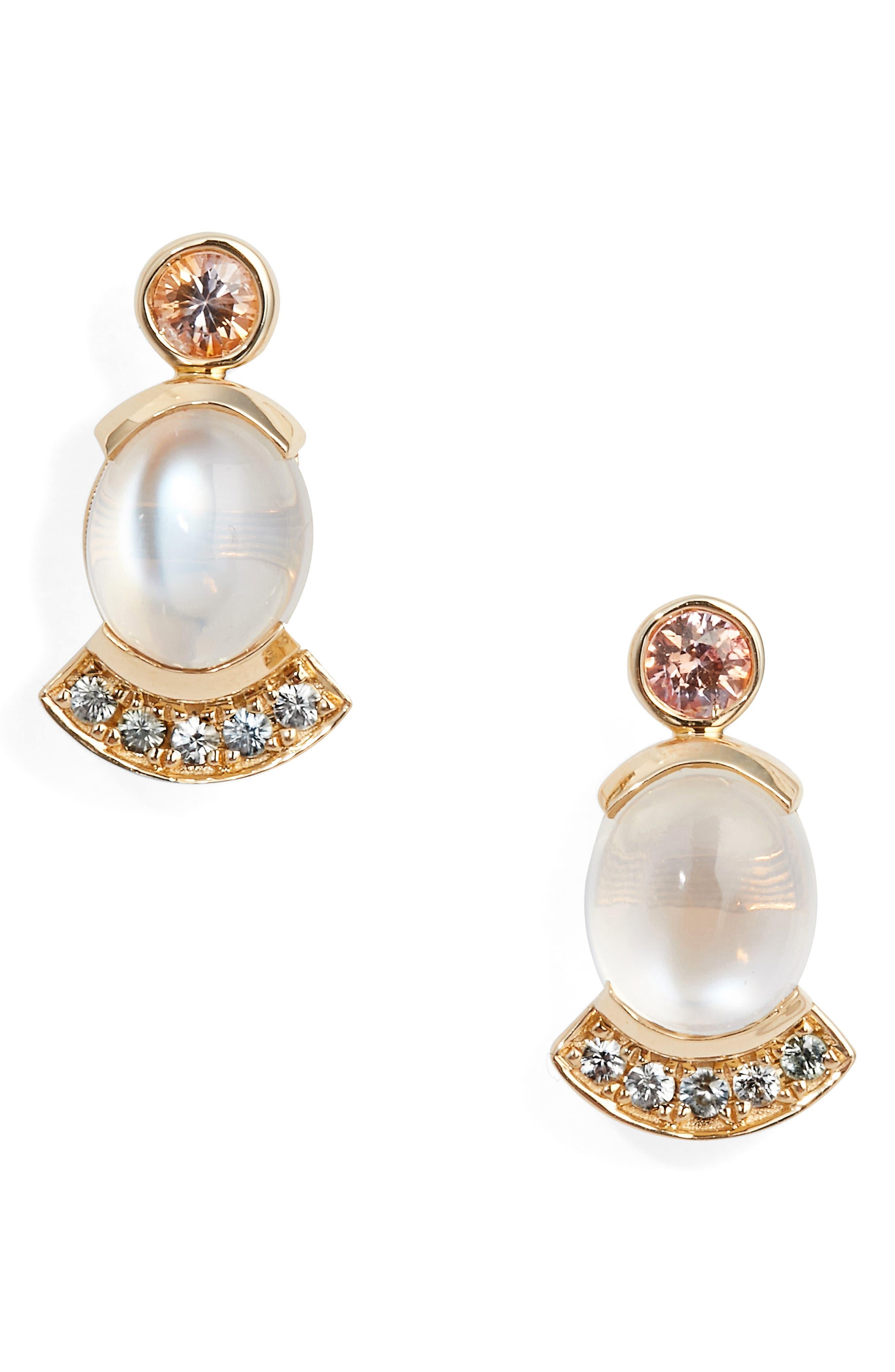 Moonstone & Sapphire Drop Earrings,                             Main thumbnail 1, color,                             Yellow Gold