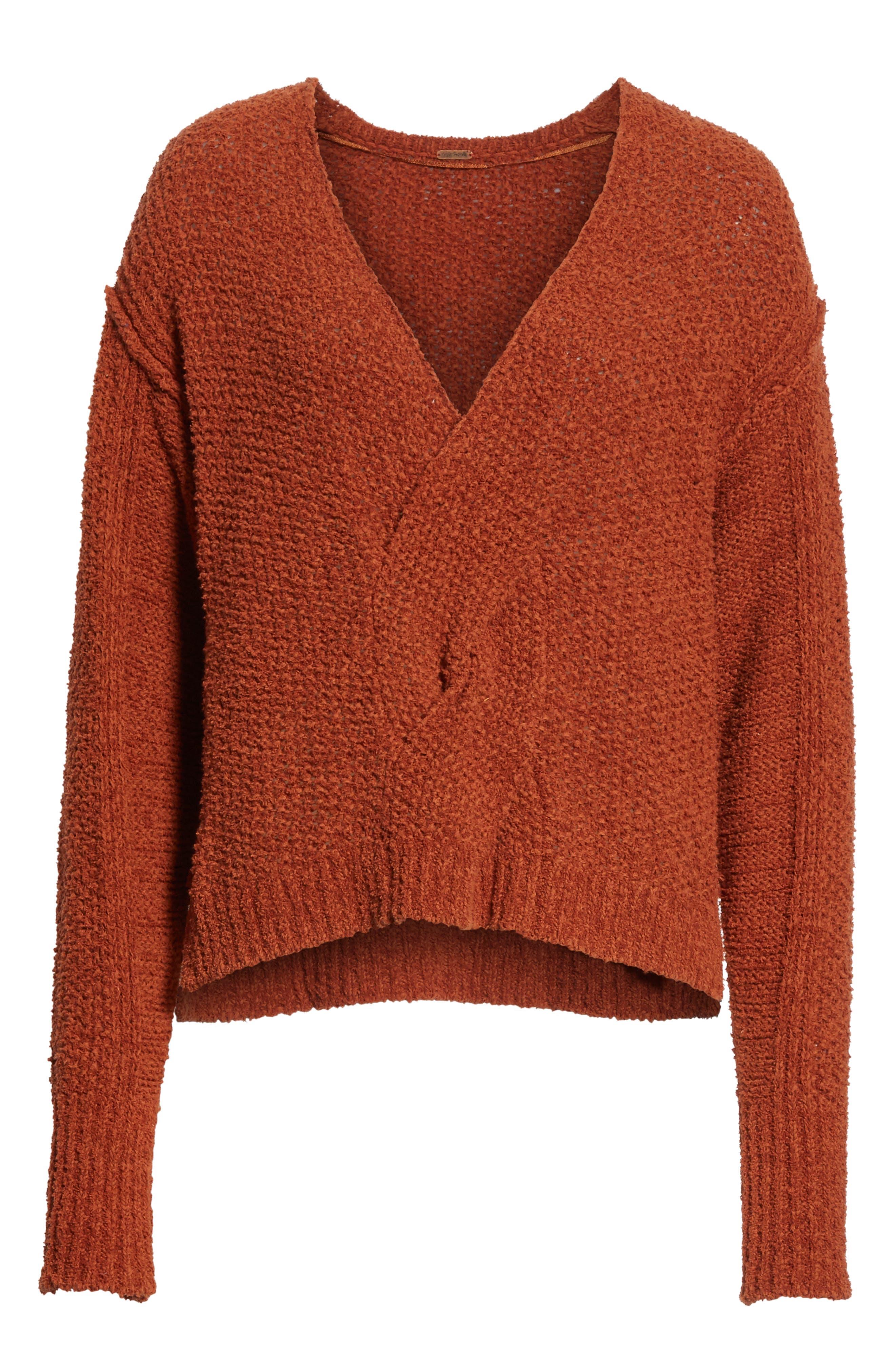 Coco V-Neck Sweater,                             Alternate thumbnail 6, color,                             Terracotta
