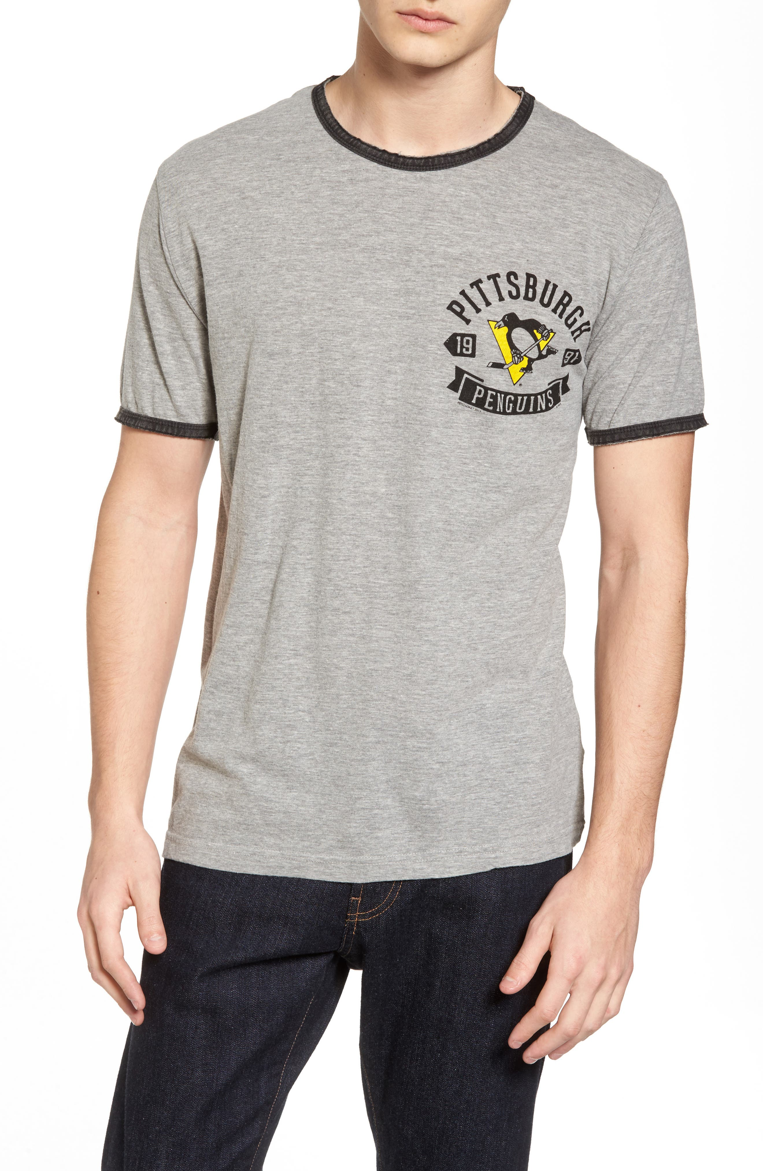 Portage Pittsburgh Penguins Ringer T-Shirt,                         Main,                         color, Heather Grey-Black