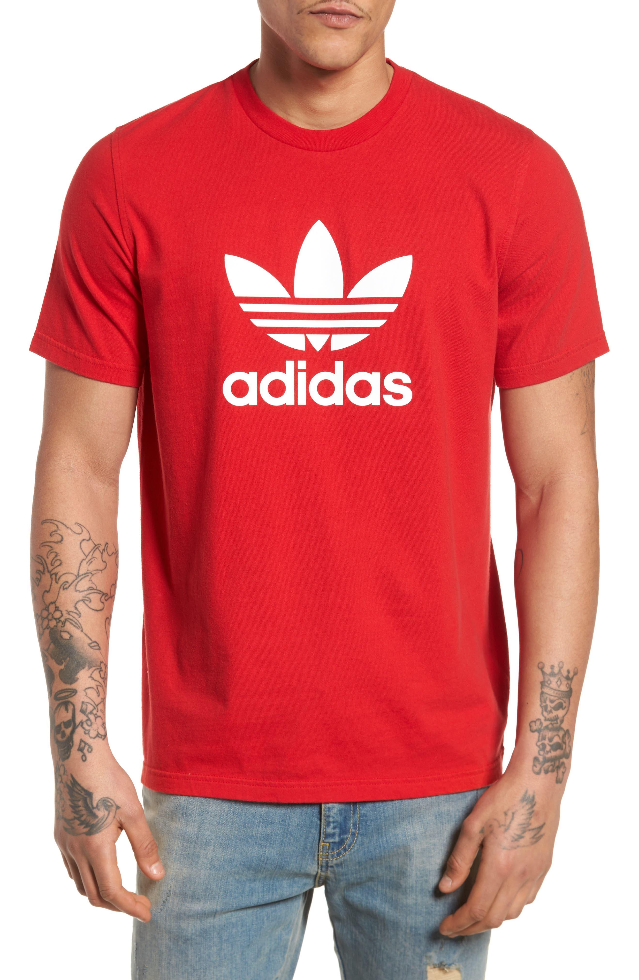 Trefoil T-Shirt,                         Main,                         color, Scarle