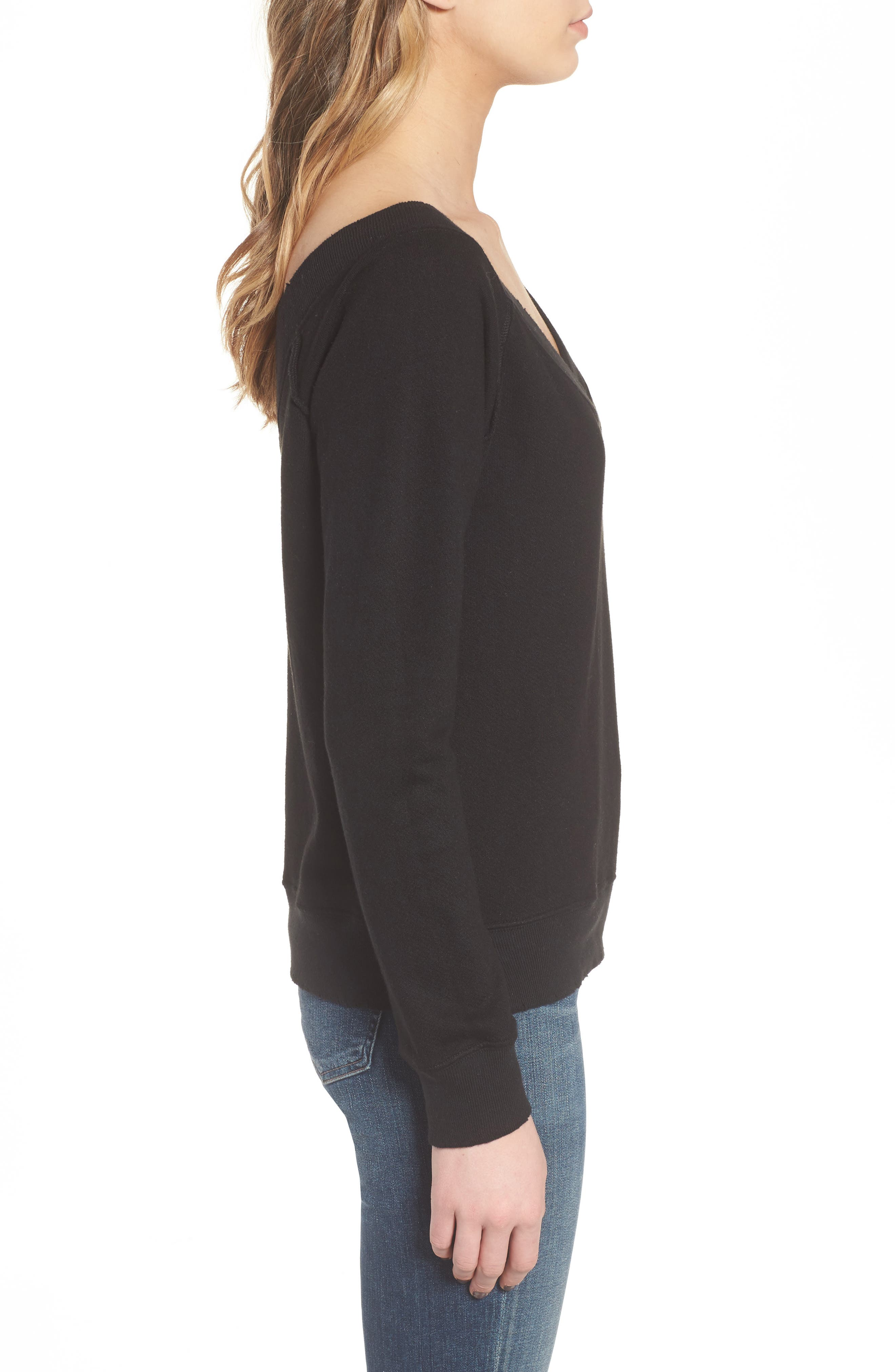 Mayer V-Neck Sweatshirt,                             Alternate thumbnail 3, color,                             Black Cat