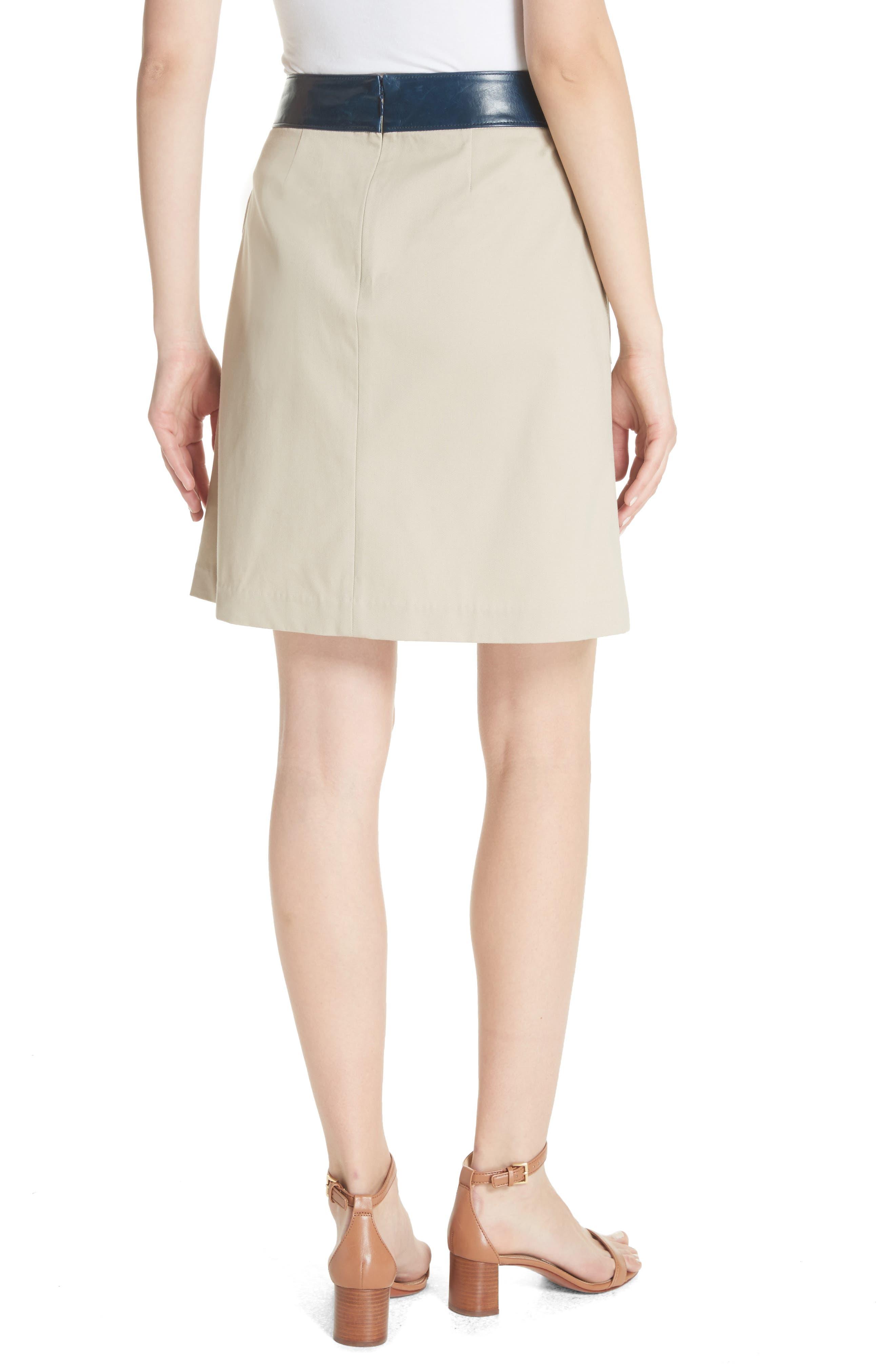 Parker Leather Trim Skirt,                             Alternate thumbnail 2, color,                             Safari