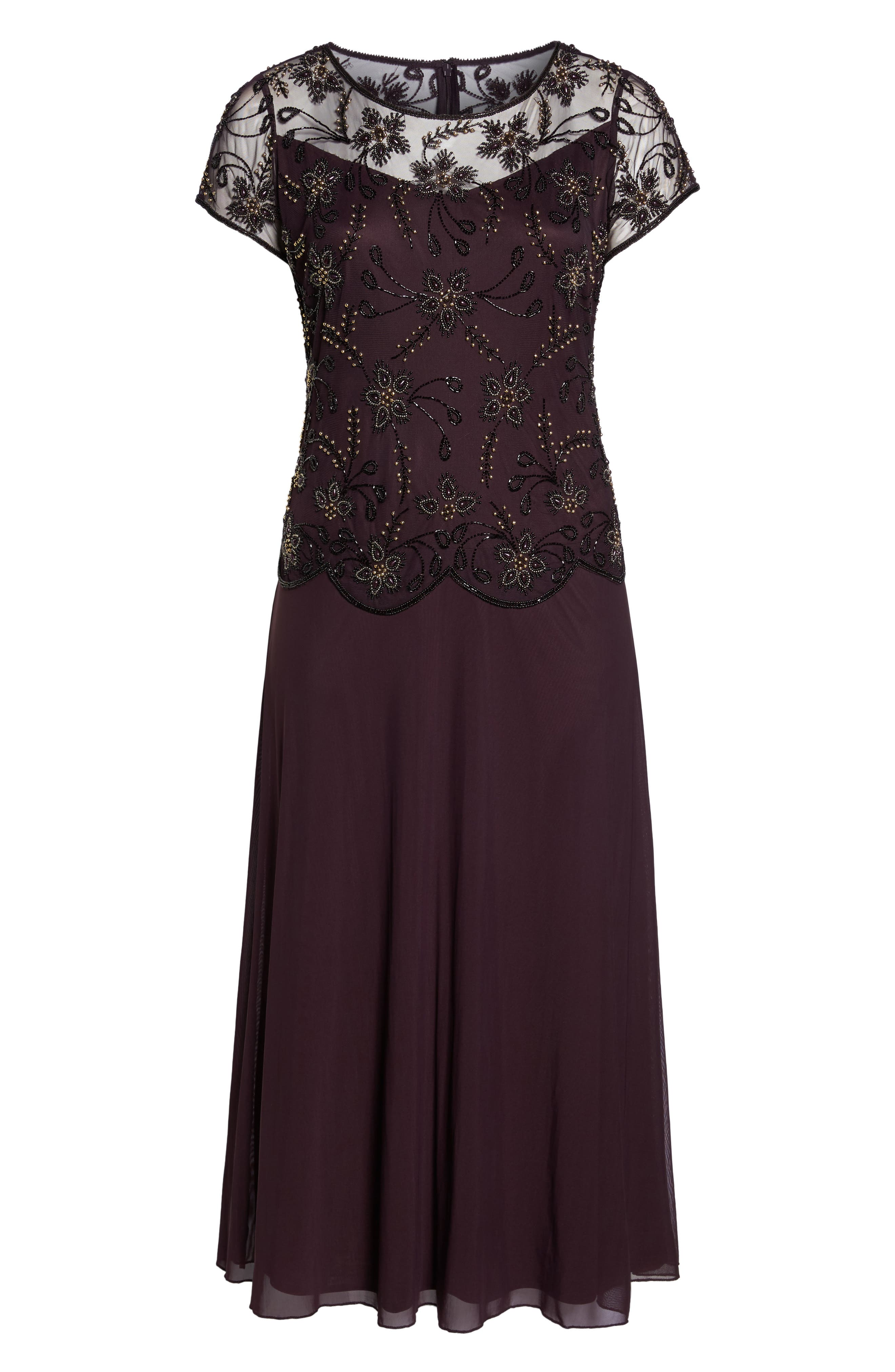 Embellished Mock Two-Piece Maxi Dress,                             Alternate thumbnail 6, color,                             Wine