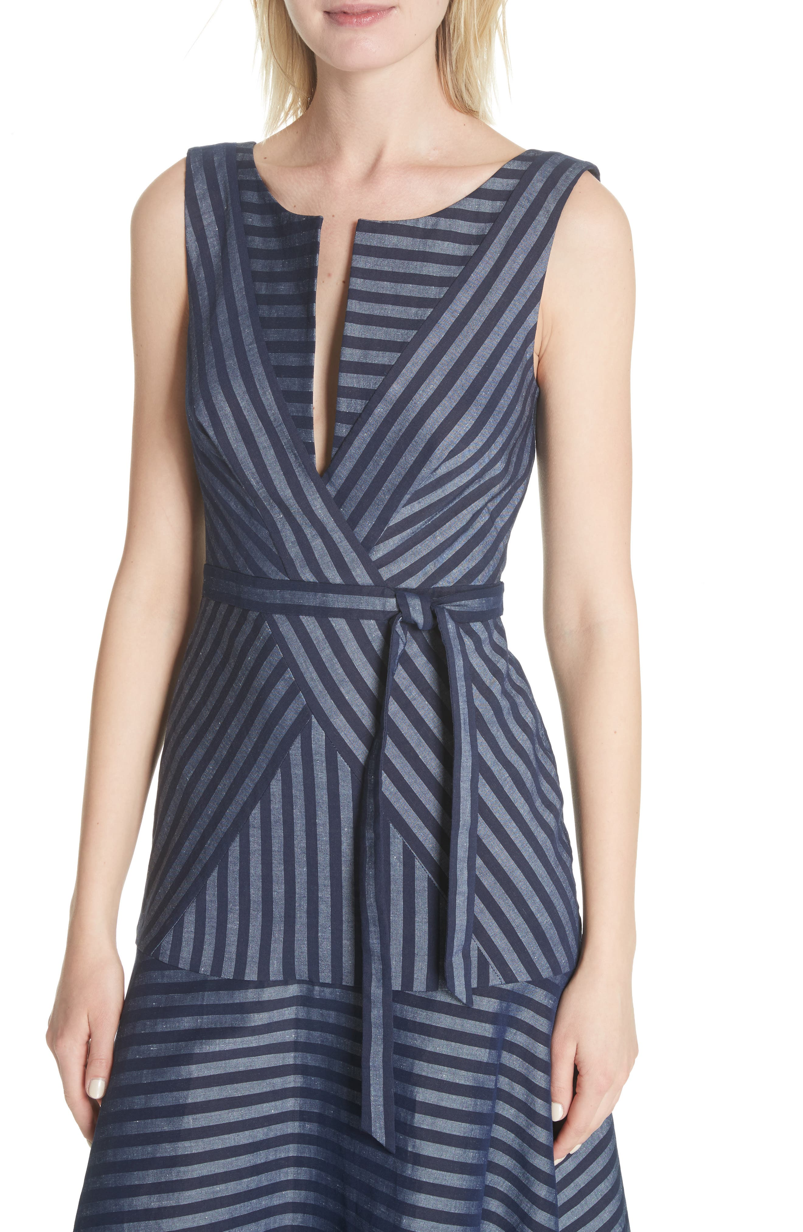 Directional Stripe A-Line Dress,                             Alternate thumbnail 4, color,                             India Ink