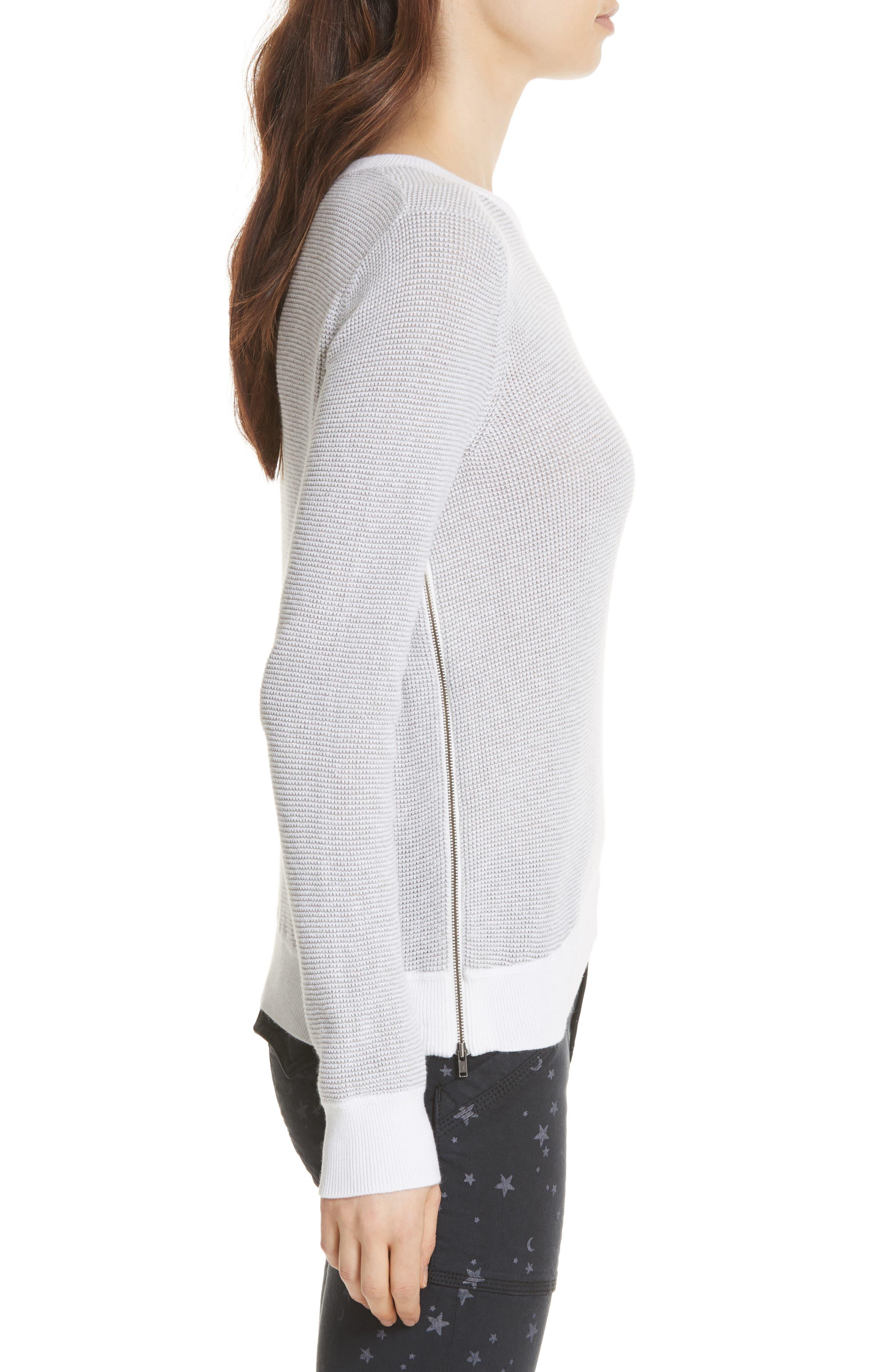 Laurana Cotton & Cashmere Sweater,                             Alternate thumbnail 3, color,                             Porcelain/ Heather Grey