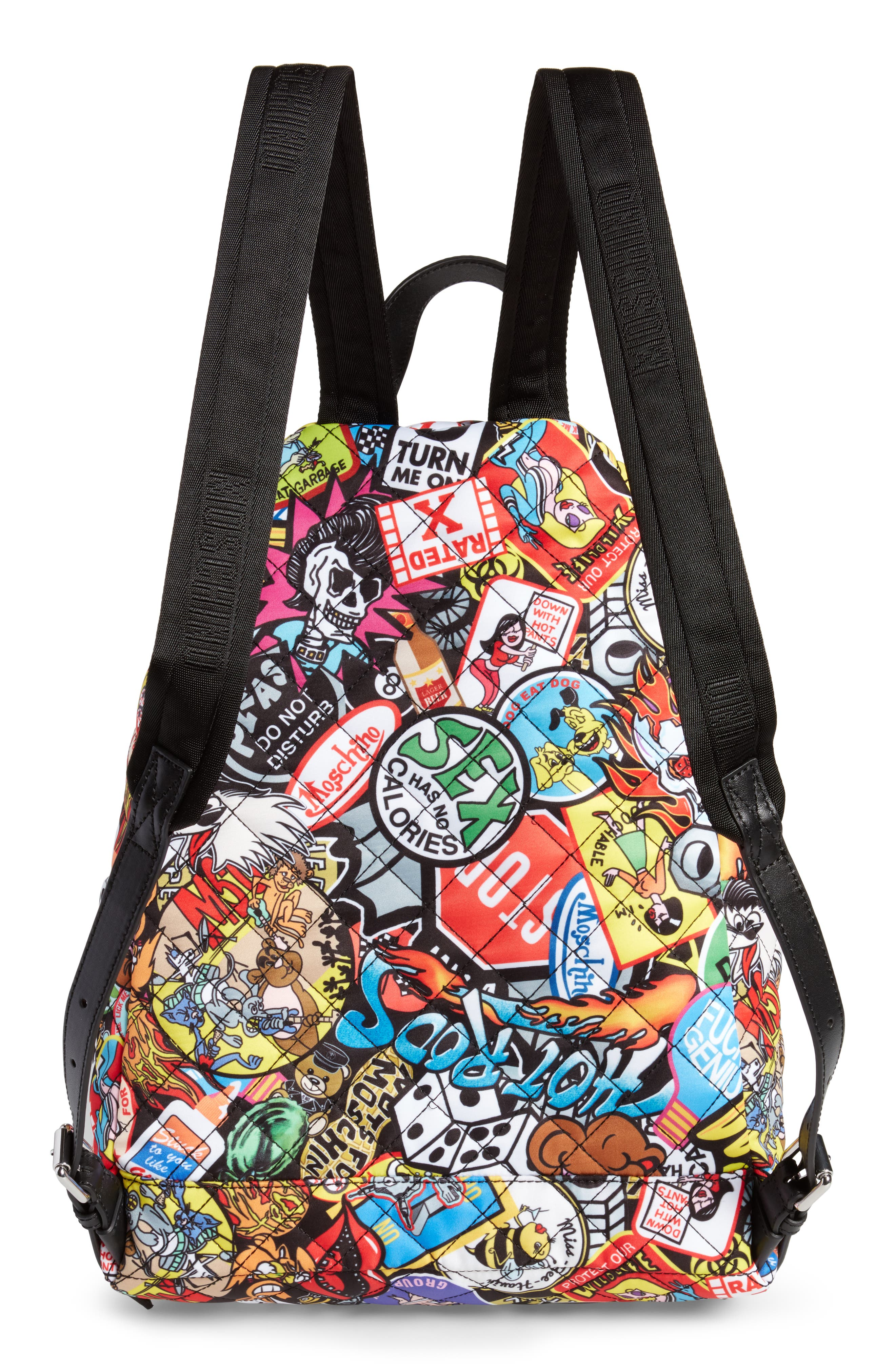 Alternate Image 3  - Moschino Patch Print Quilted Nylon Backpack