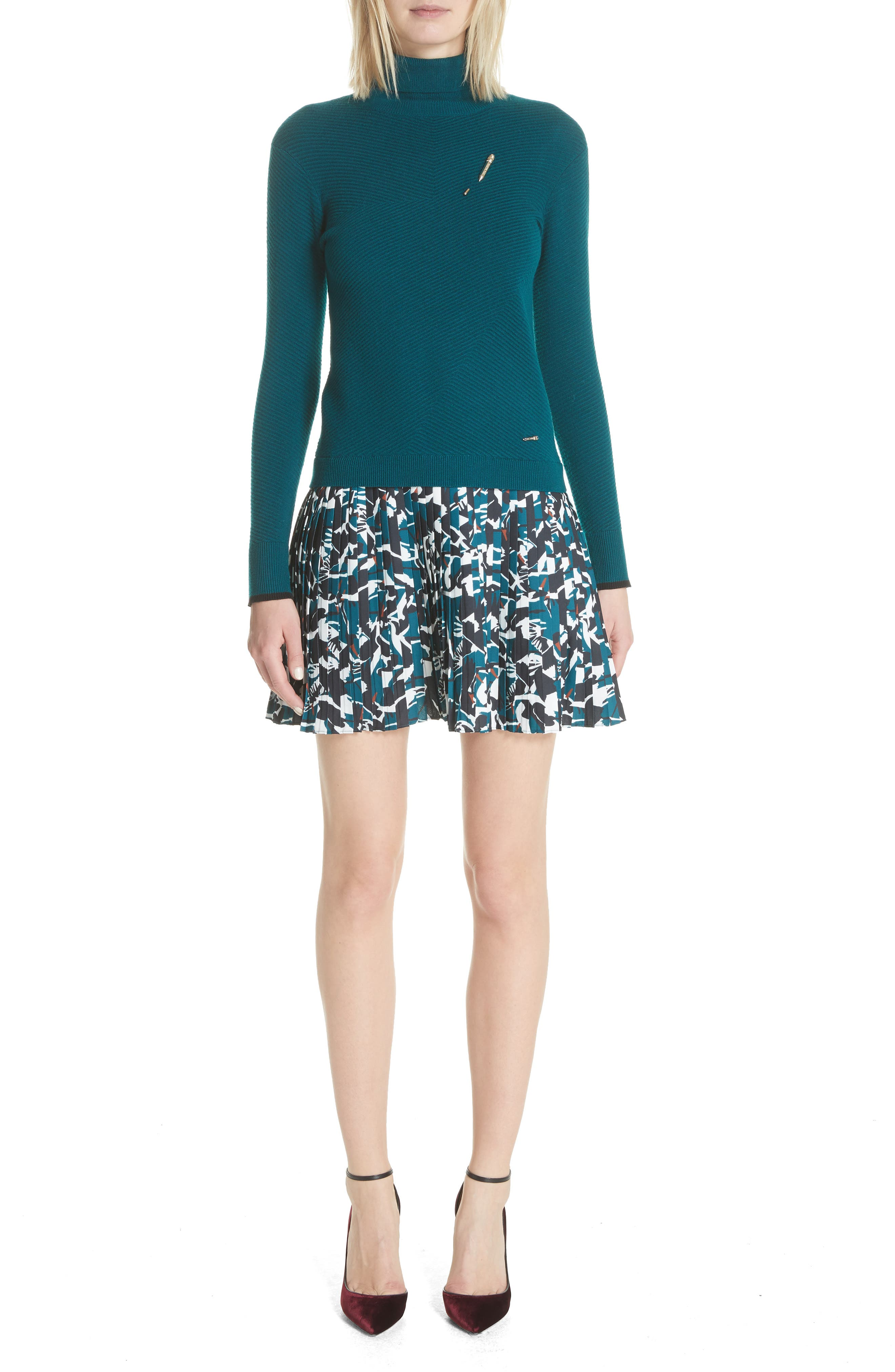 Colour by Numbers Mock Two-Piece Dress,                         Main,                         color, Teal