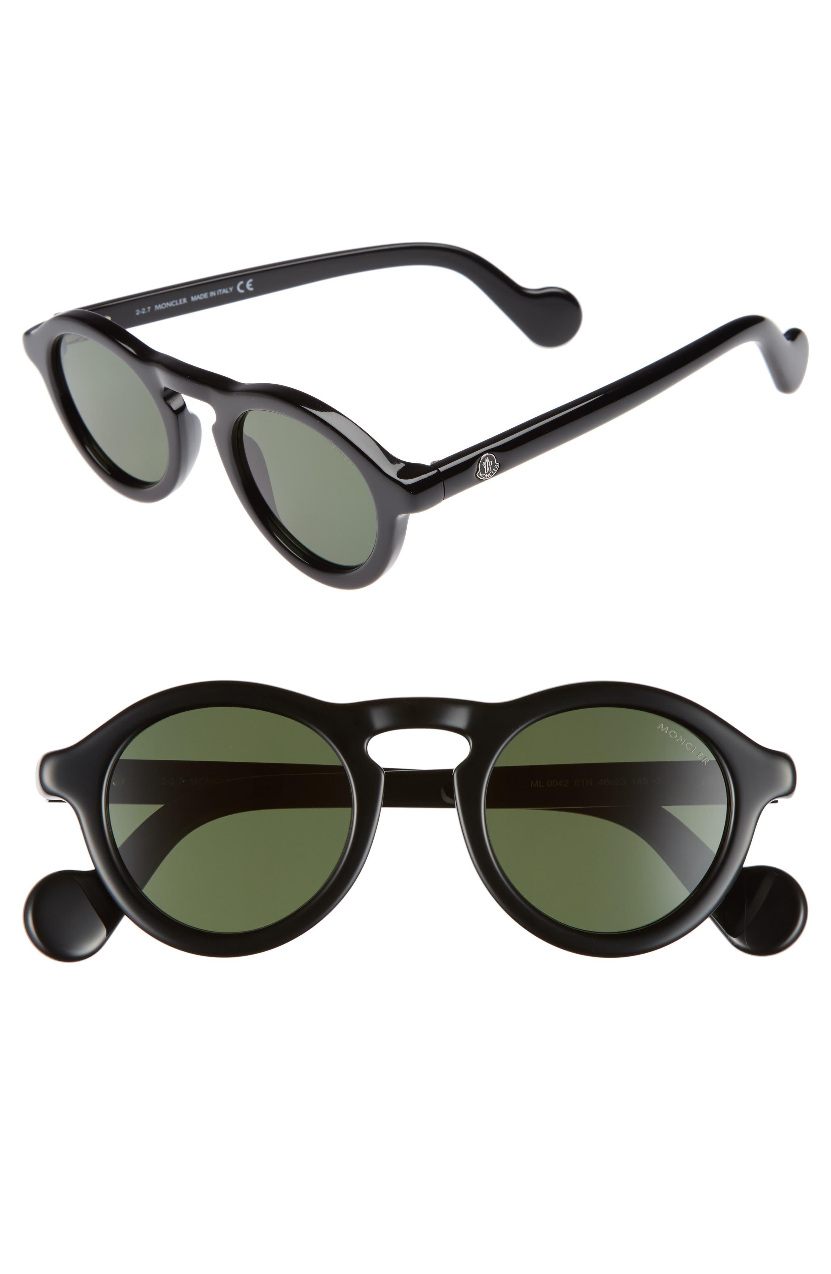 46mm Round Sunglasses,                         Main,                         color, Shiny Black/ Green
