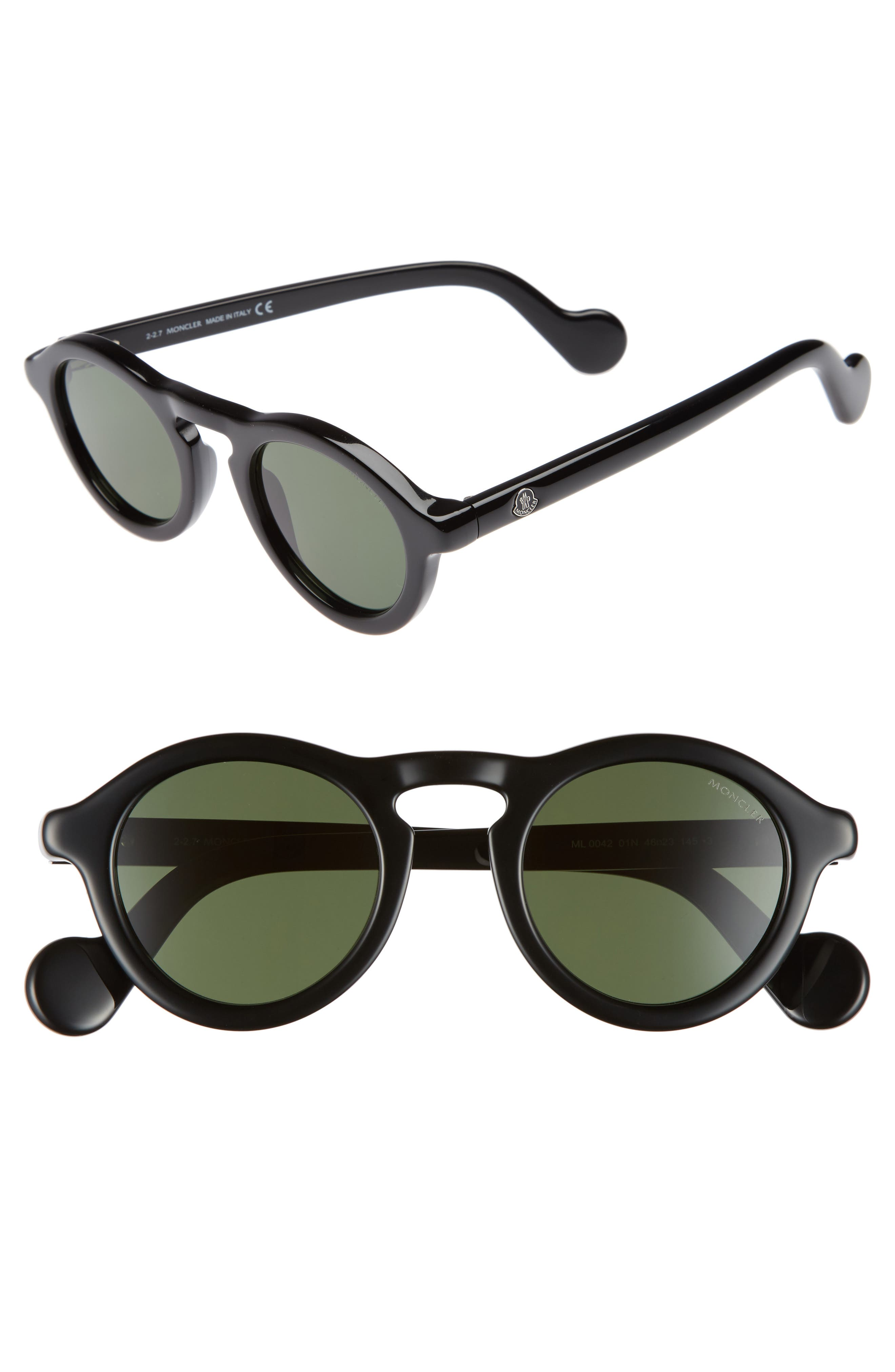 46mm Round Sunglasses,                         Main,                         color, Shiny Black/ Green