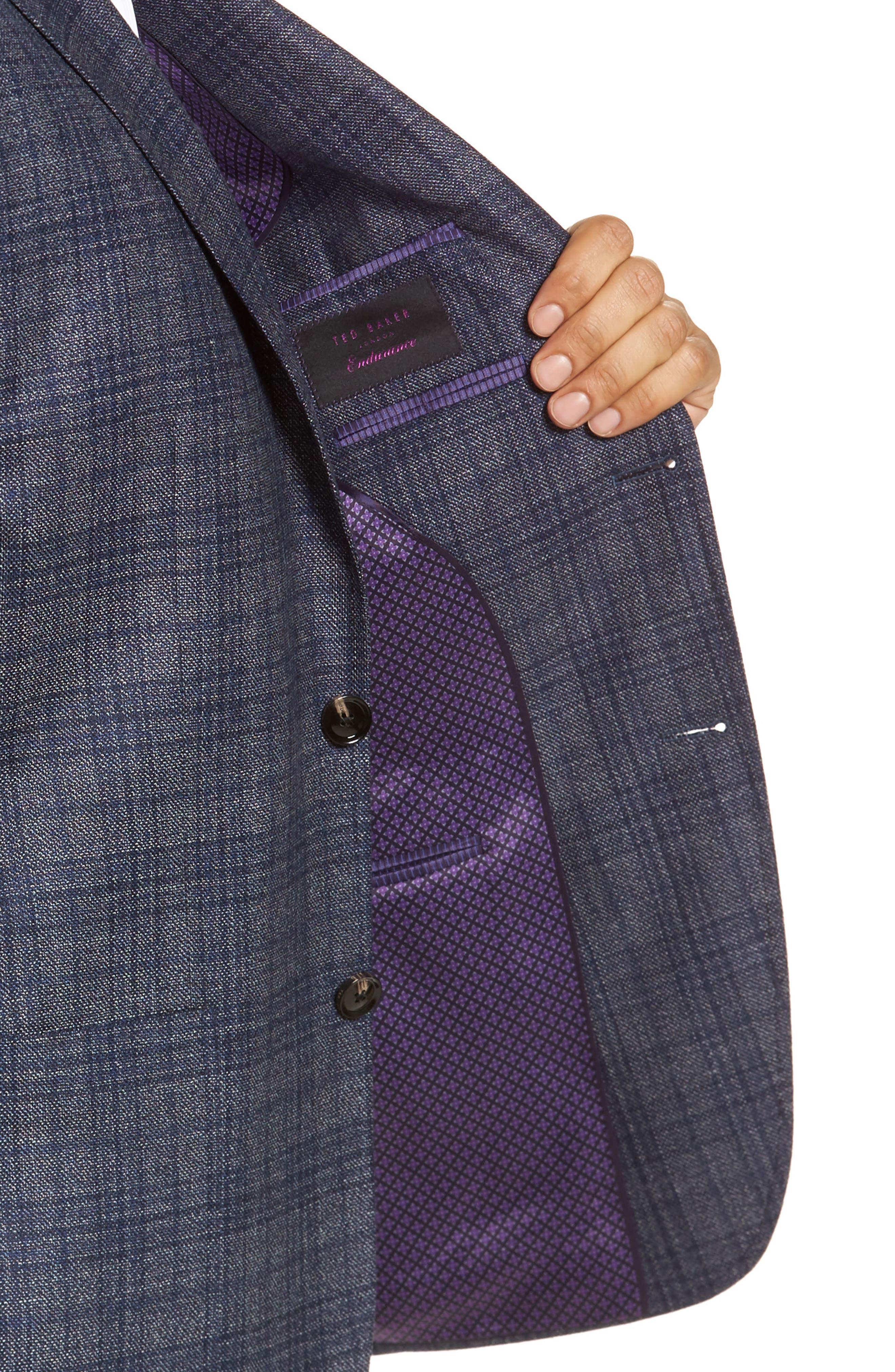 Kyle Trim Fit Plaid Silk & Wool Sport Coat,                             Alternate thumbnail 4, color,                             Grey