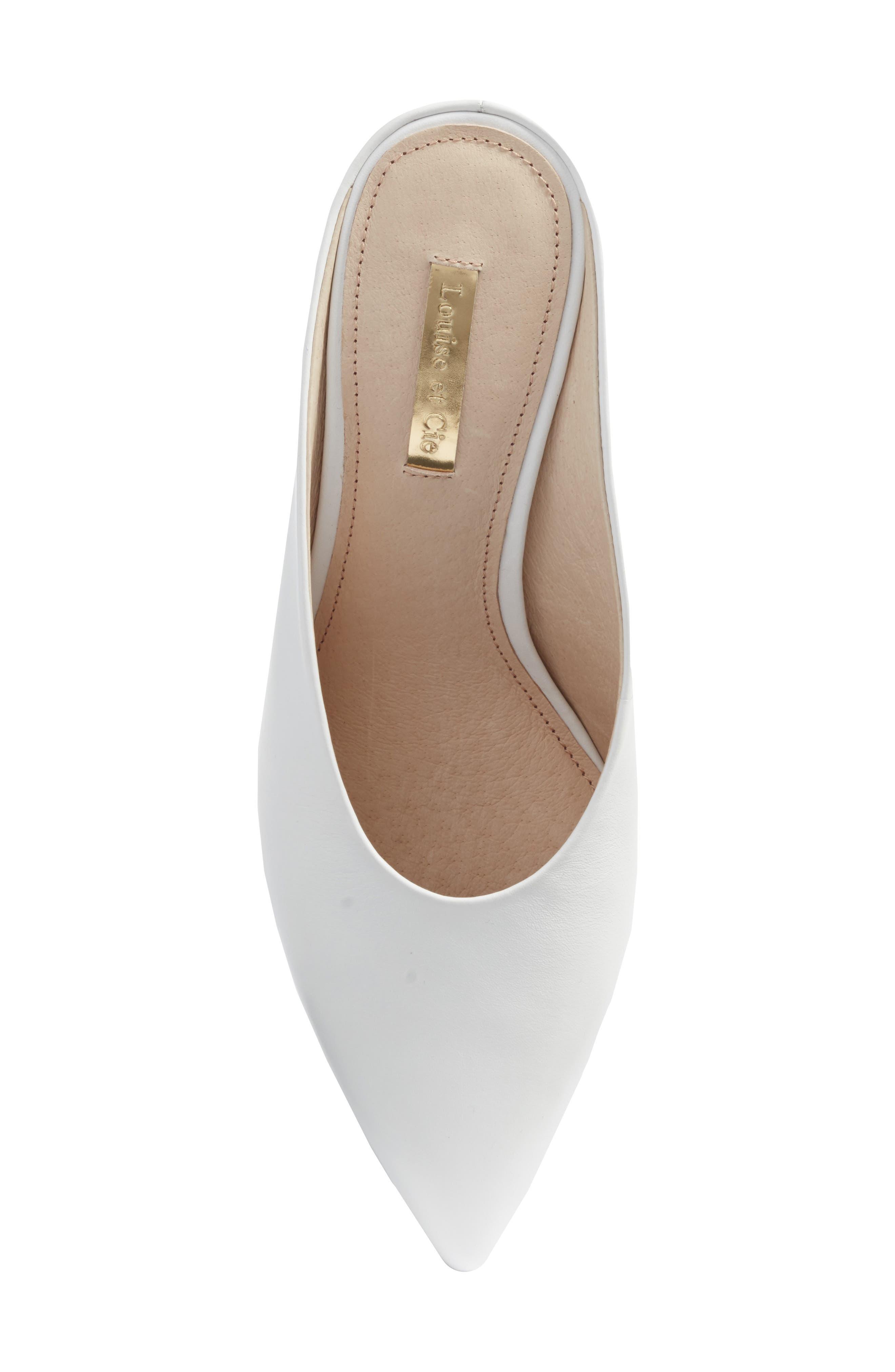 Karas Pointy Toe Slide Pump,                             Alternate thumbnail 5, color,                             White Leather