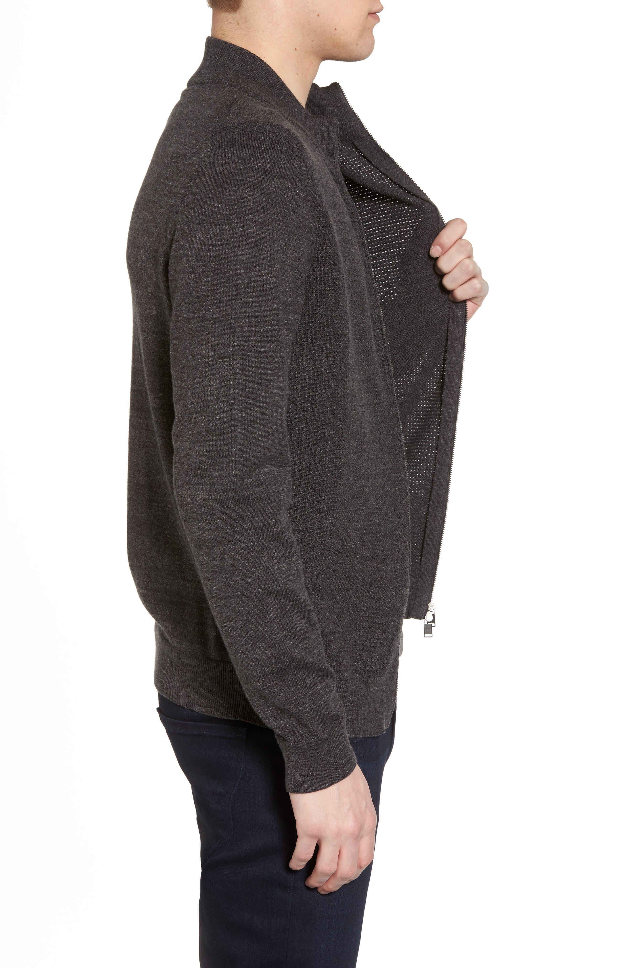 Devino Cotton Zip Jacket,                             Alternate thumbnail 3, color,                             Grey