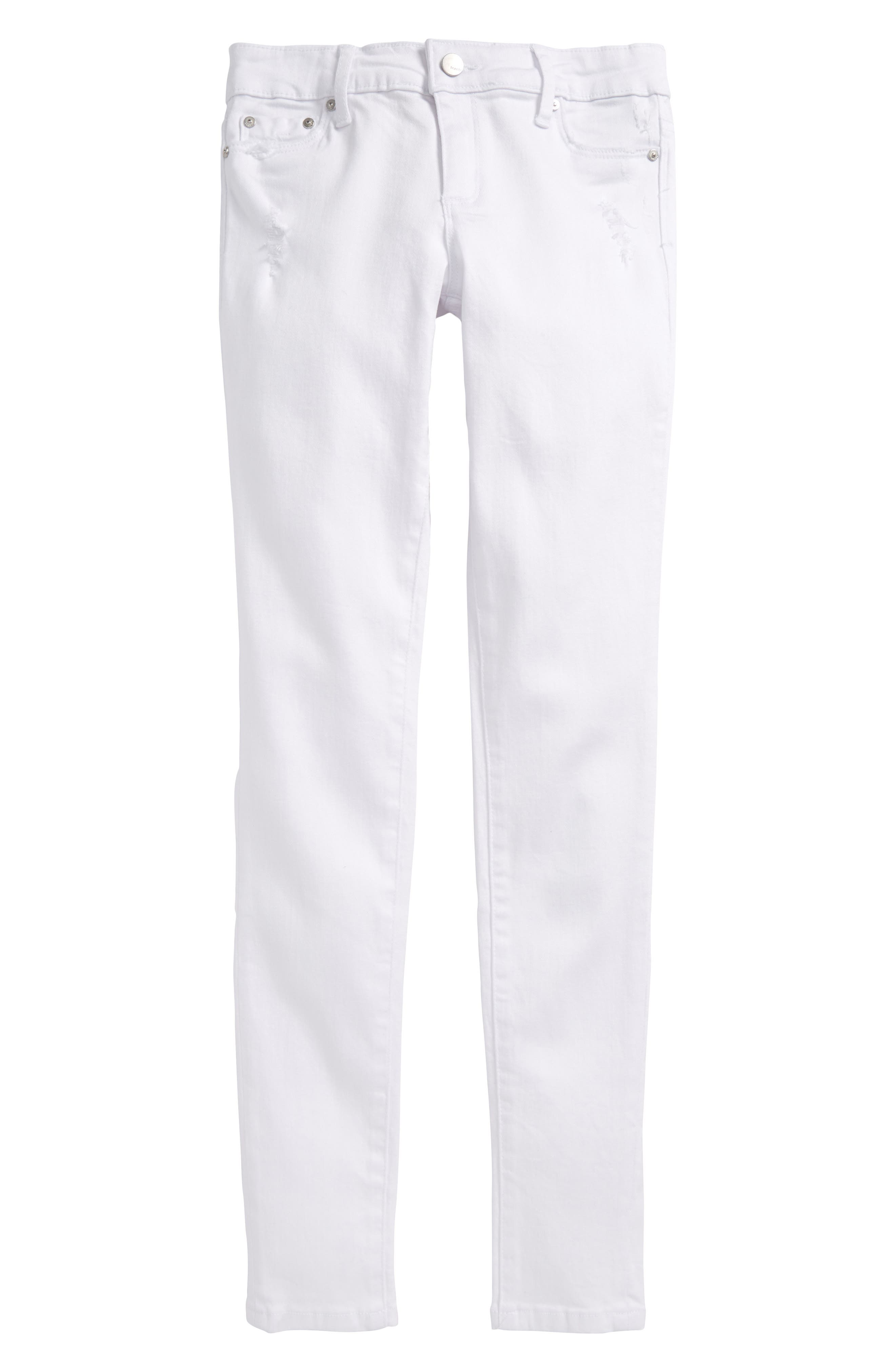 Deconstructed Skinny Jeans,                         Main,                         color, White