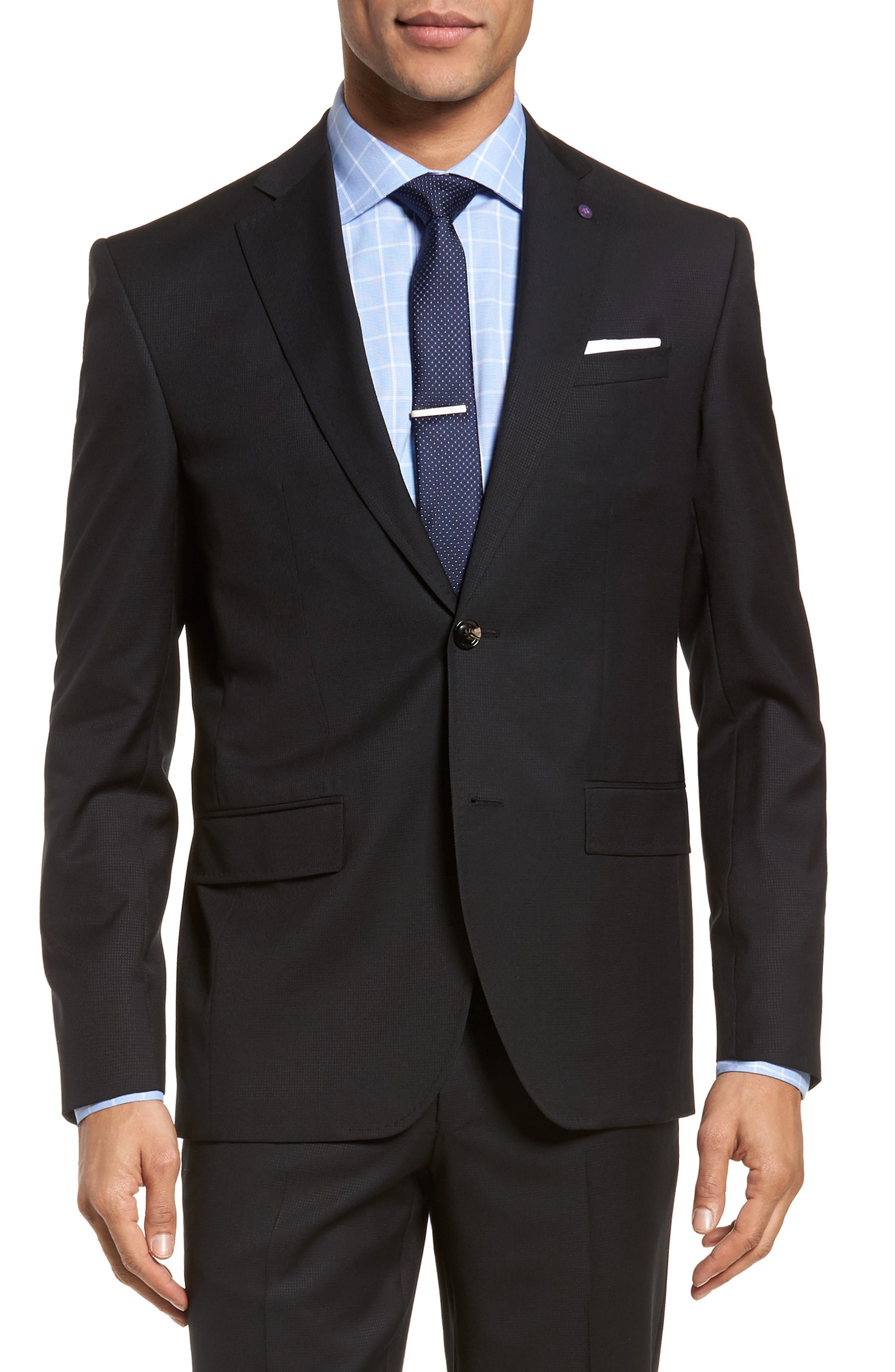 Roger Extra Slim Fit Solid Wool Suit,                             Alternate thumbnail 5, color,                             Black