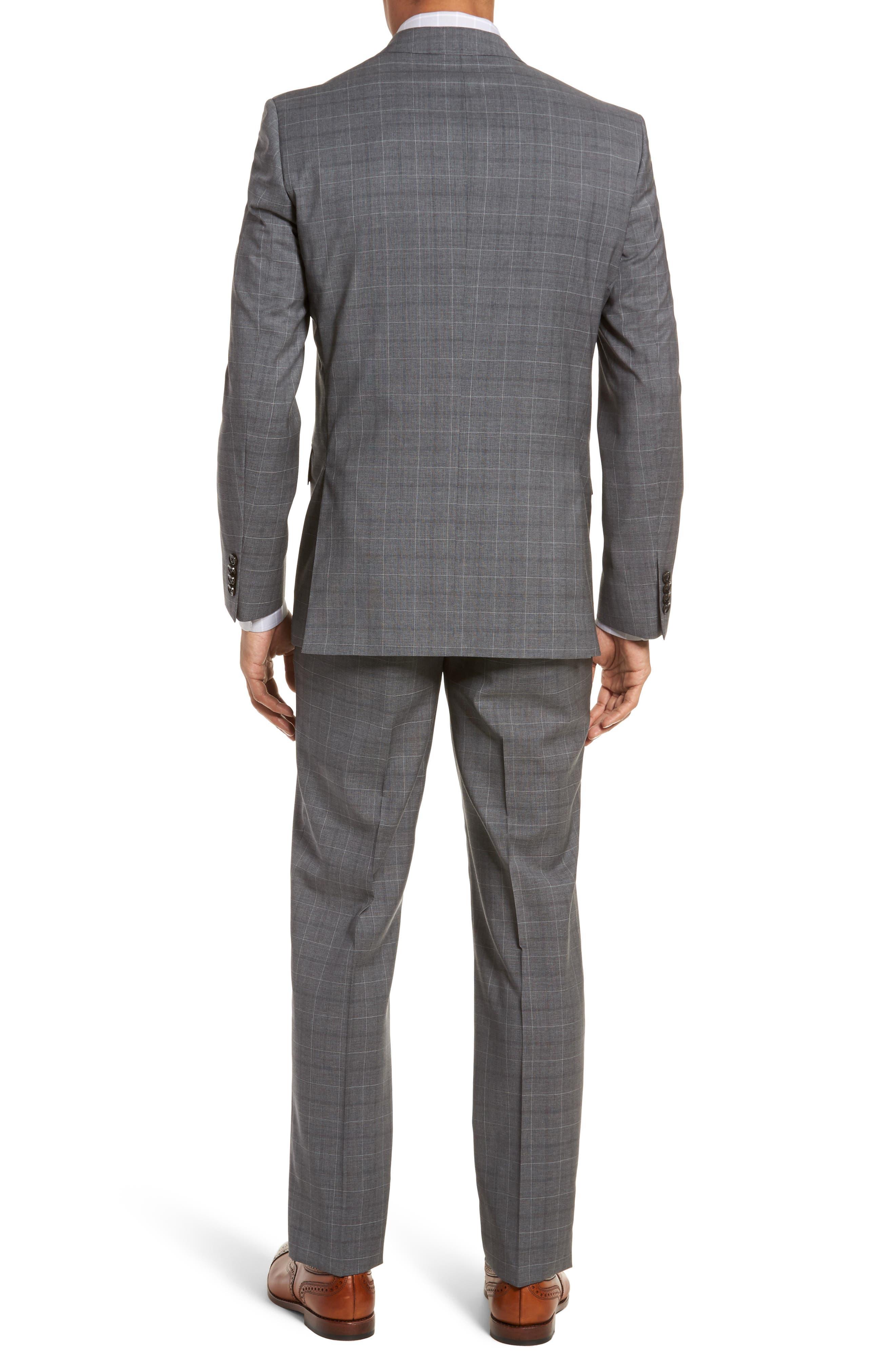 Jay Trim Fit Plaid Wool Suit,                             Alternate thumbnail 2, color,                             Grey