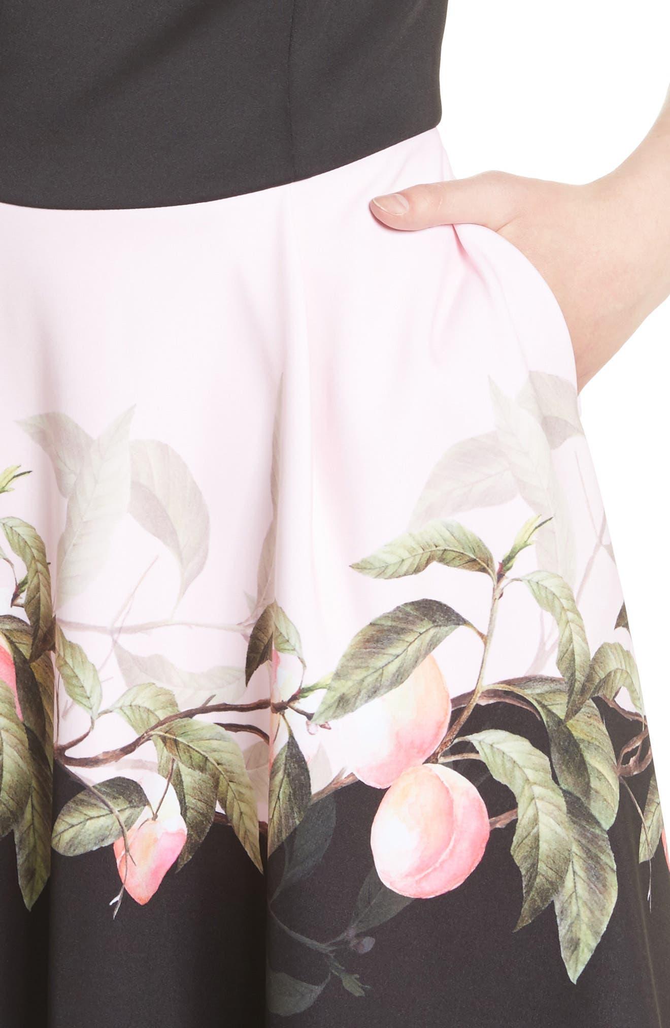 Peach Blossom Off the Shoulder Dress,                             Alternate thumbnail 4, color,                             Black