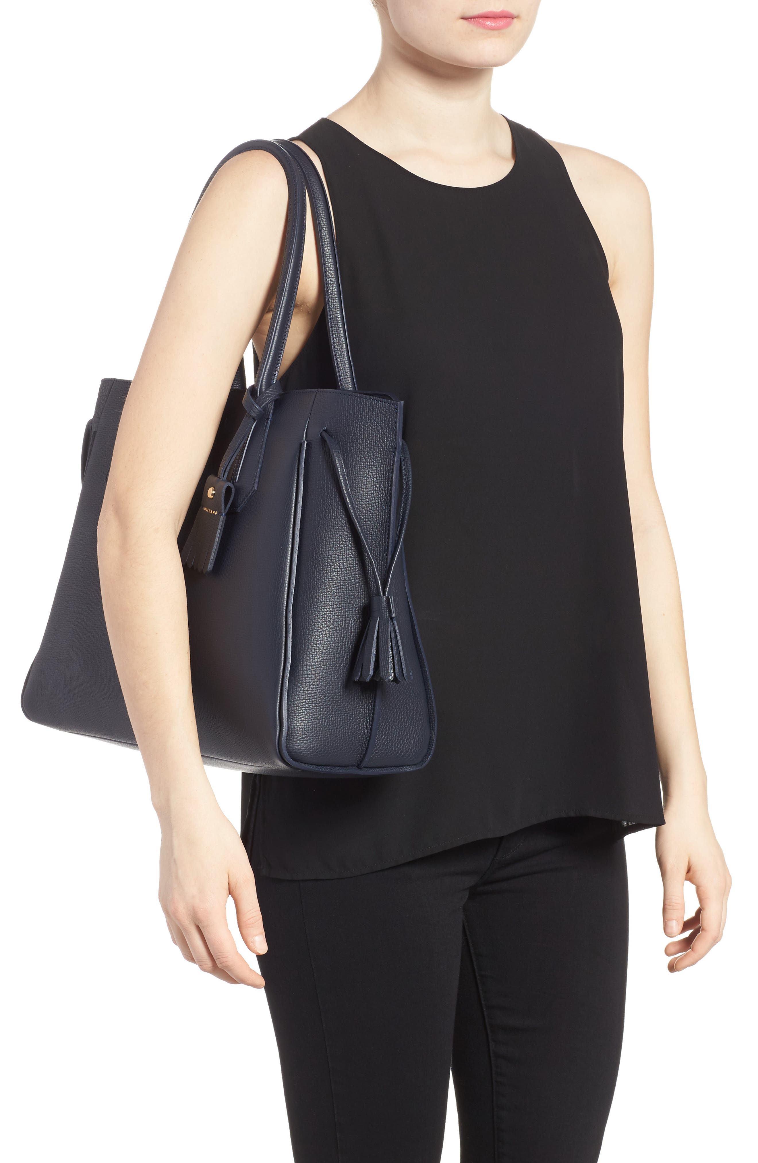 'Penelope' Tassel Drawstring Leather Tote,                             Alternate thumbnail 2, color,                             Midnight