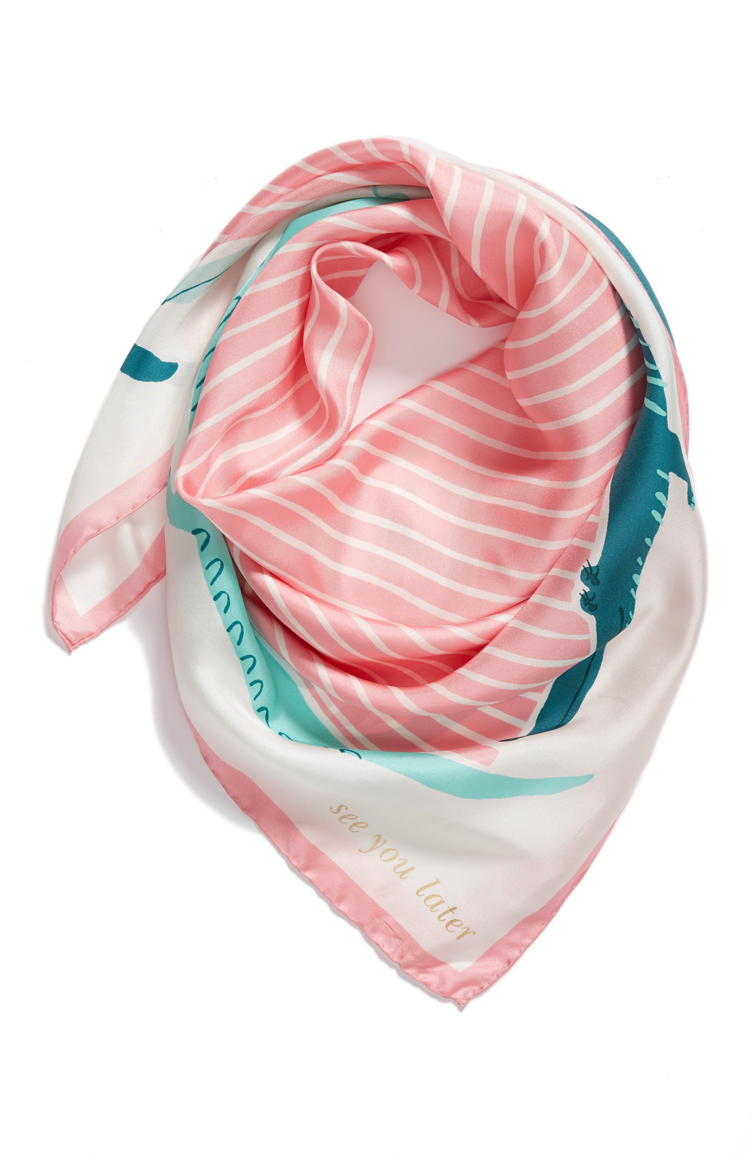 alligator square silk scarf,                             Alternate thumbnail 3, color,                             Cream
