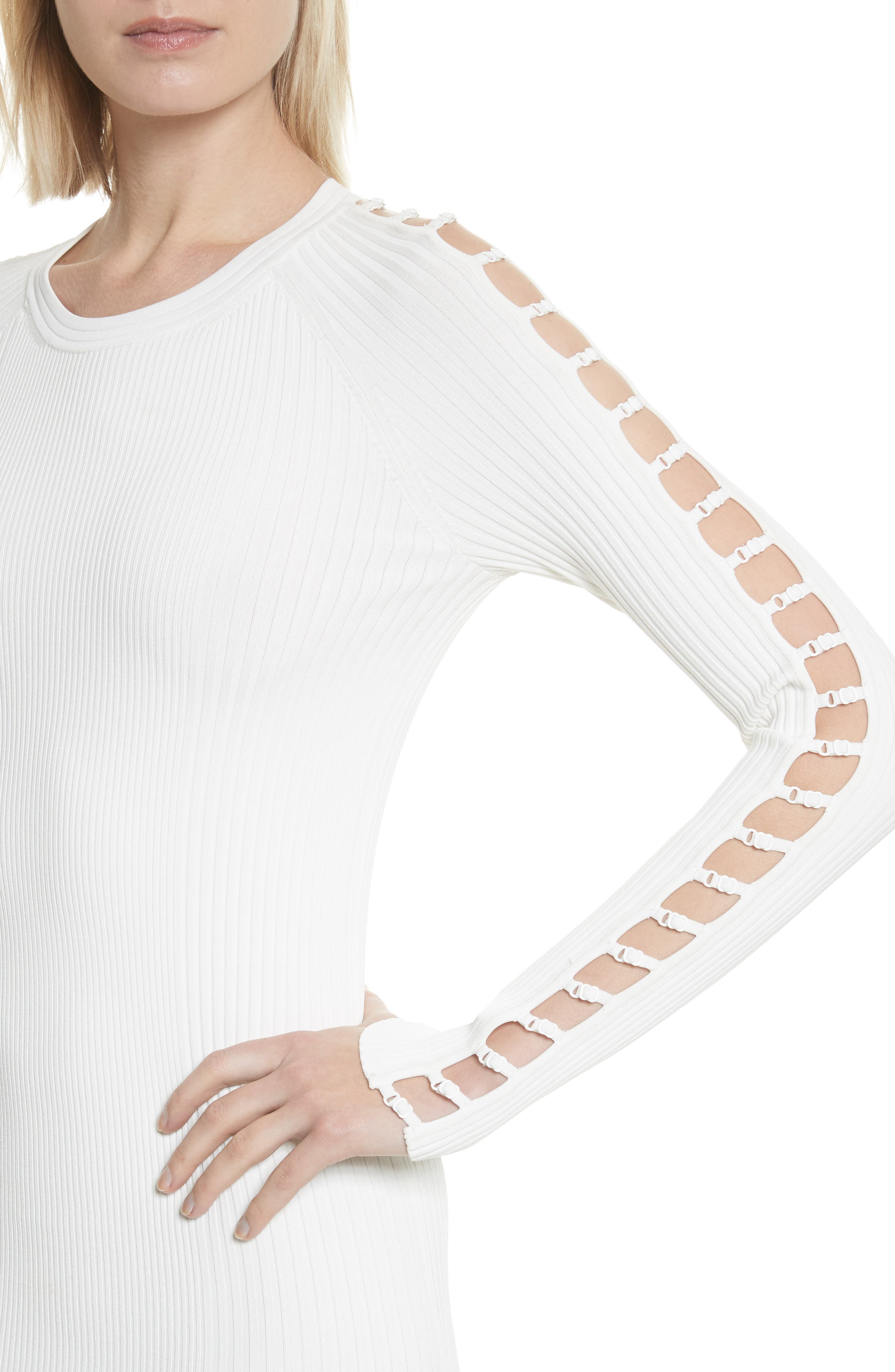 Bra Strap Sleeve Body-Con Dress,                             Alternate thumbnail 4, color,                             Ivory