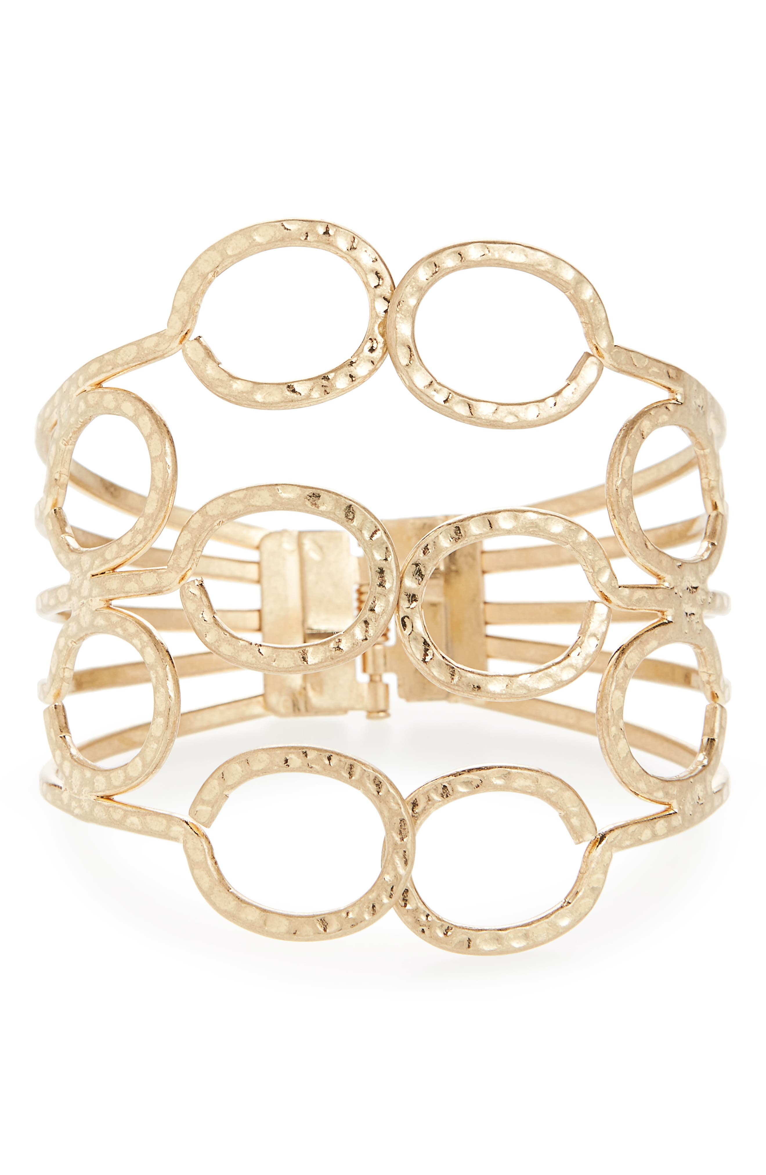 Canvas Large Hinged Cuff Bracelet,                             Main thumbnail 1, color,                             Gold